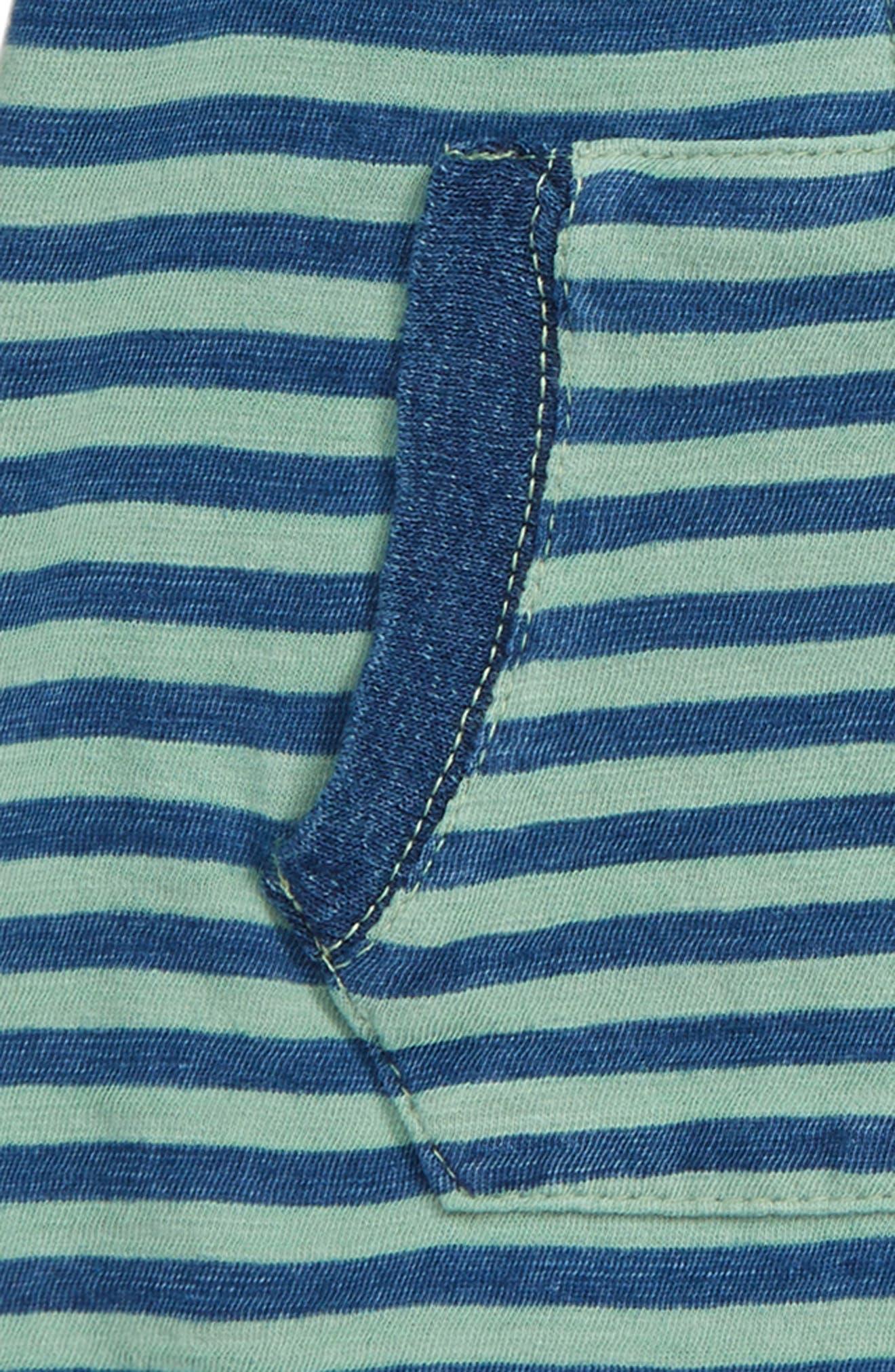 SPLENDID, Indigo Stripe Bodysuit, Alternate thumbnail 2, color, WAKE GREEN