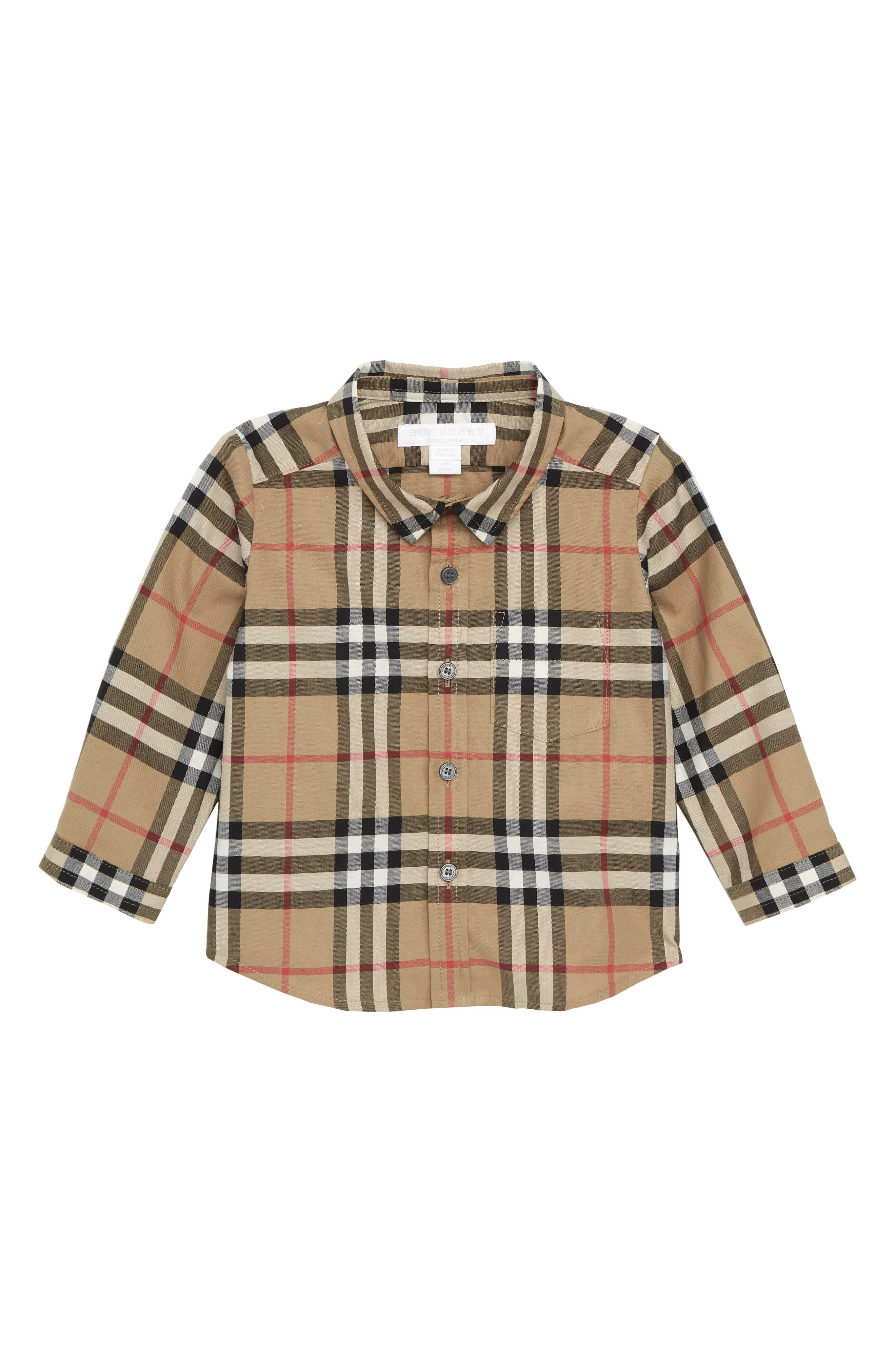 BURBERRY, Fred Plaid Shirt, Main thumbnail 1, color, ANTIQUE YELLOW