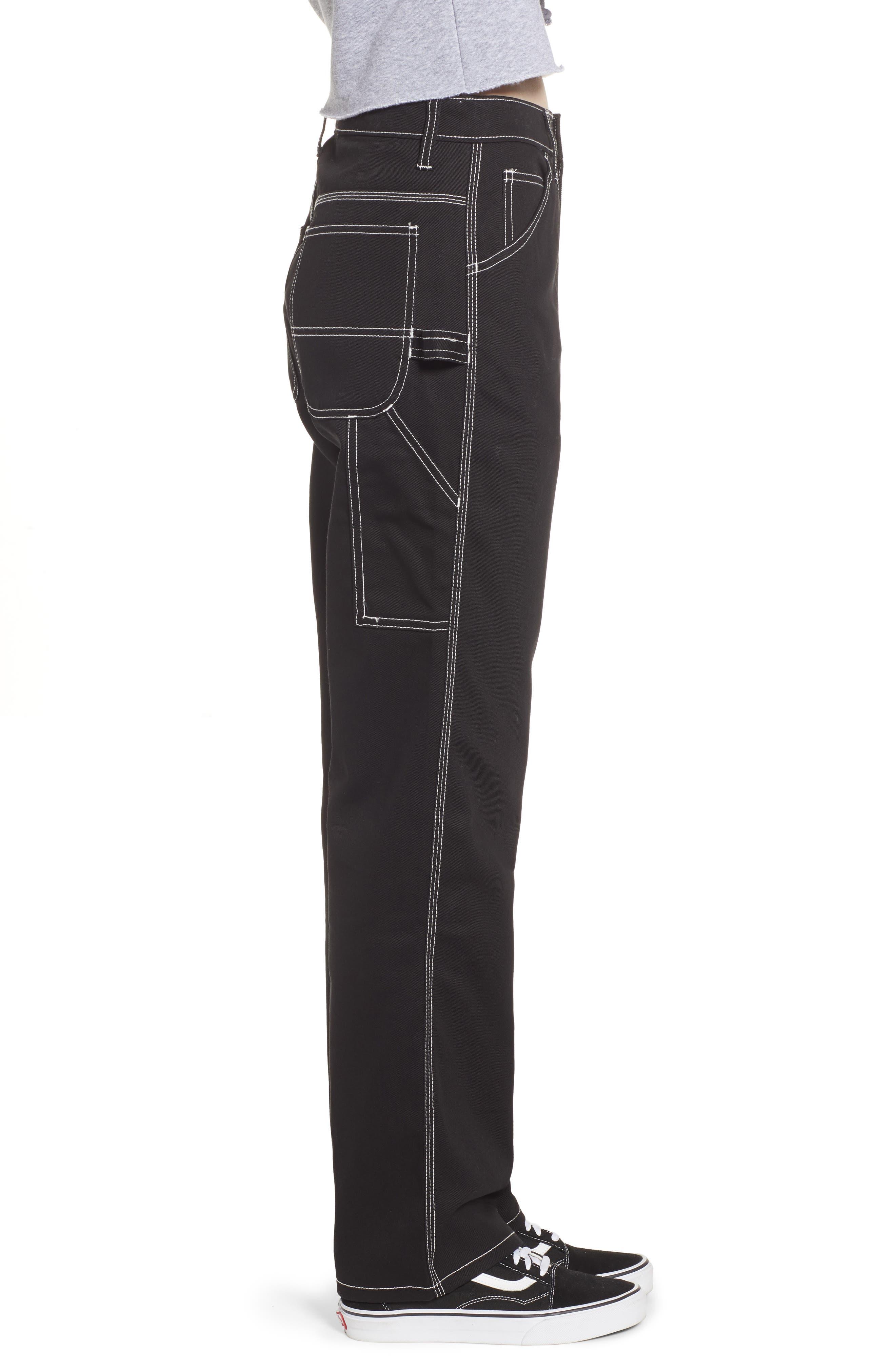 DICKIES, Relaxed Fit Carpenter Pants, Alternate thumbnail 4, color, BLACK