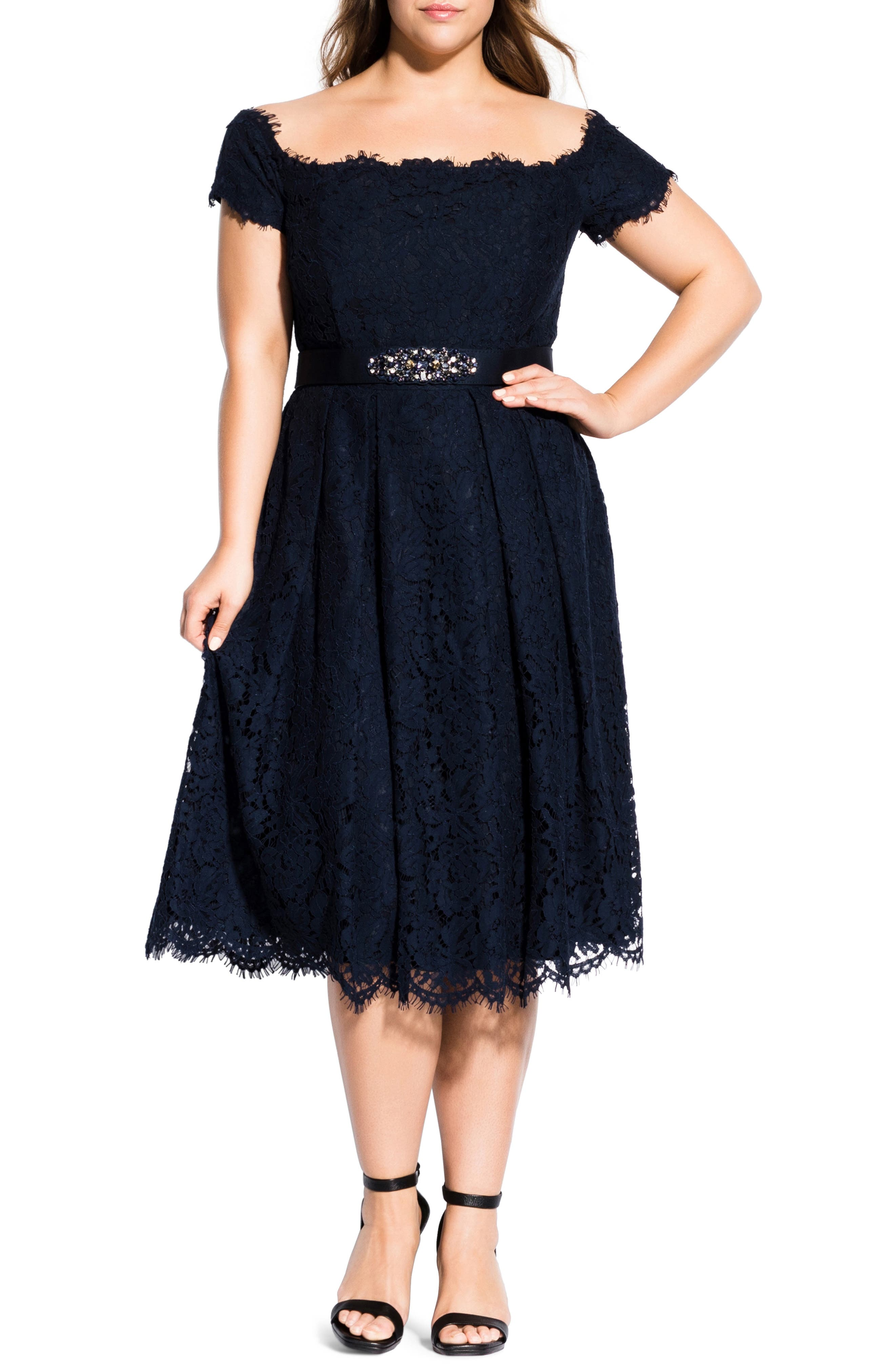 1950s Cocktail Dresses, Party Dresses Plus Size Womens City Chic Off The Shoulder Lace Dreams Midi Dress Size Small - Blue $169.00 AT vintagedancer.com
