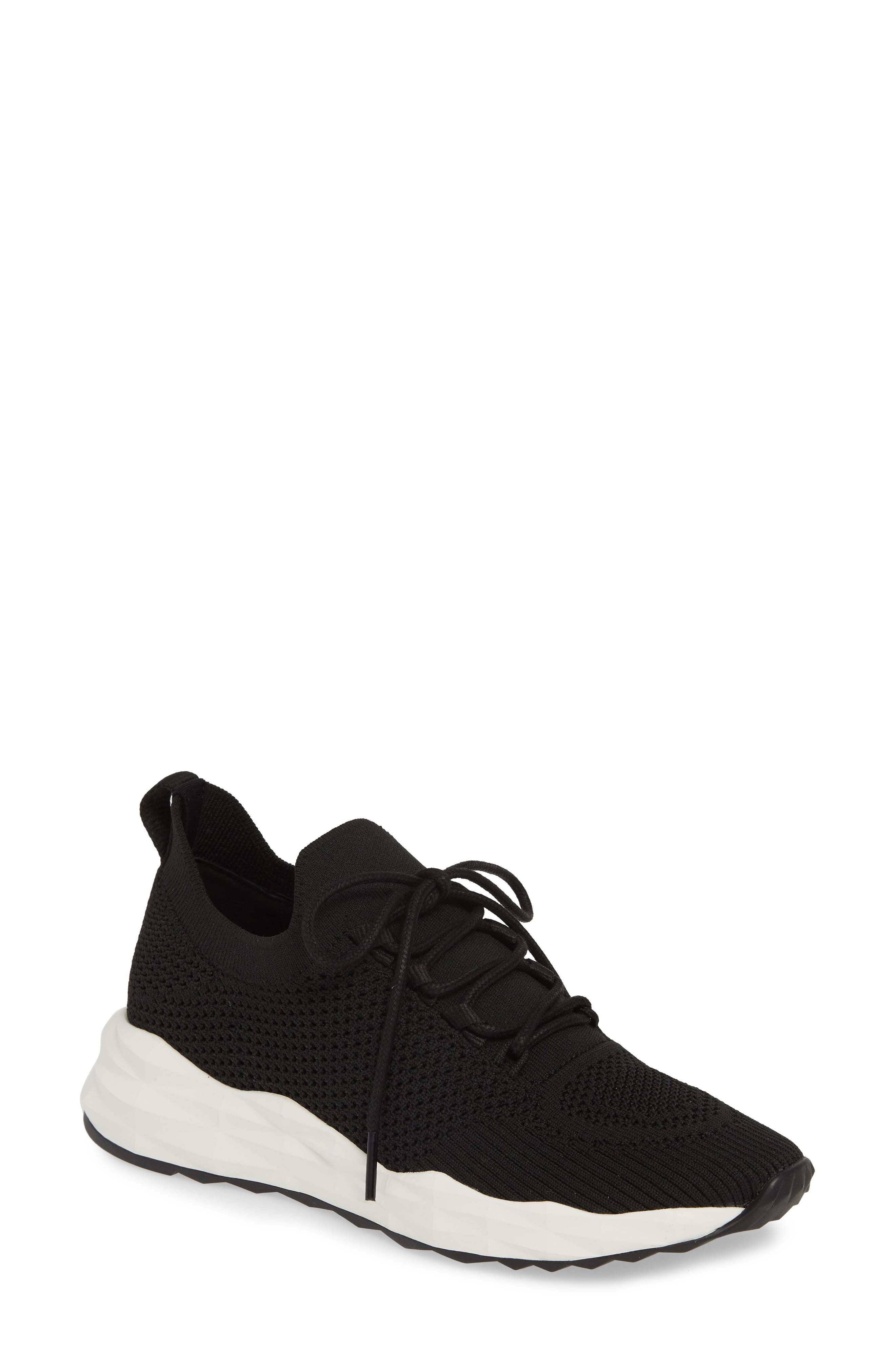 ASH, Knit Skate Sneaker, Main thumbnail 1, color, BLACK/ BLACK