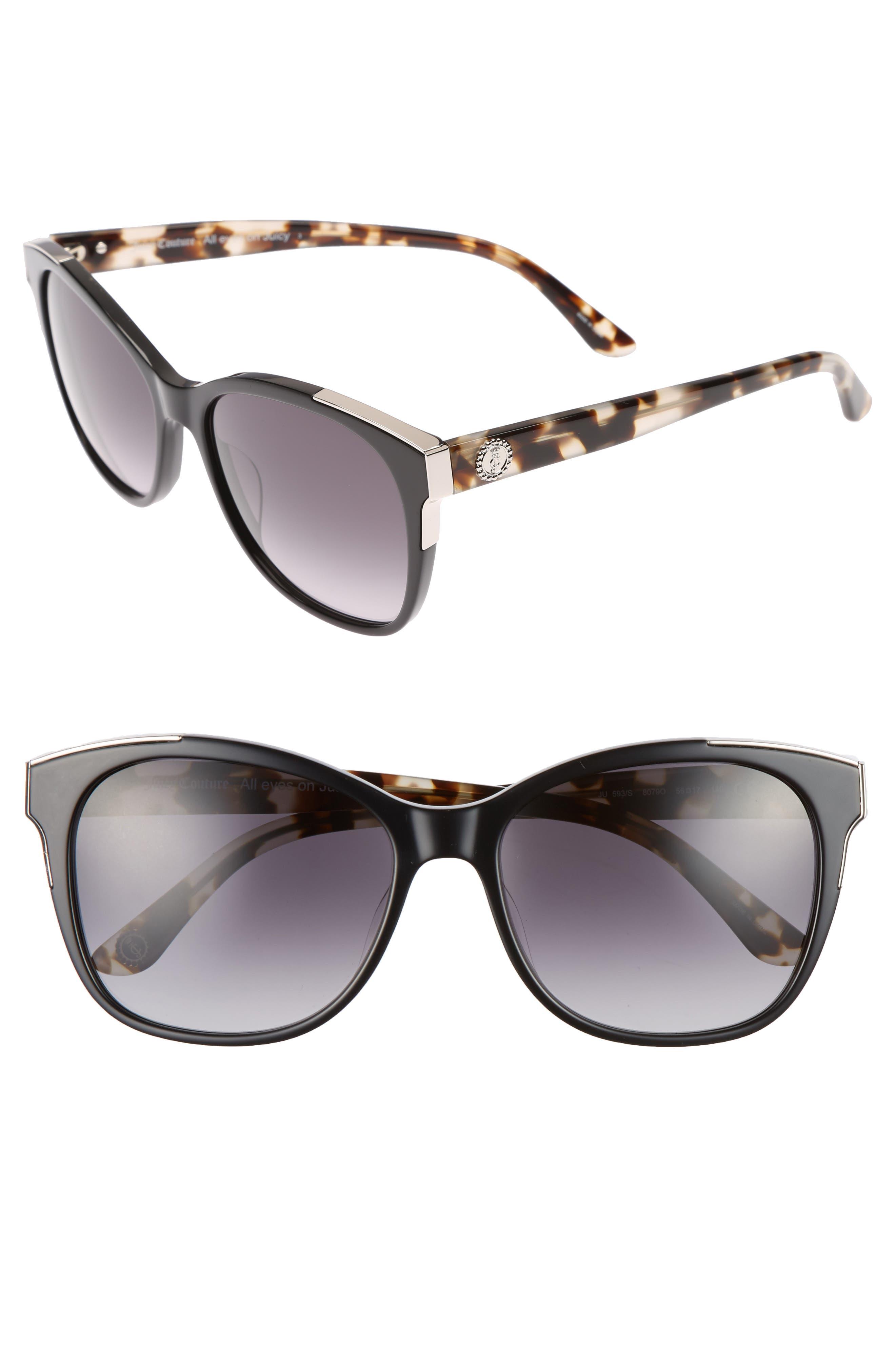 JUICY COUTURE, Black Label 56mm Cat Eye Sunglasses, Main thumbnail 1, color, 001