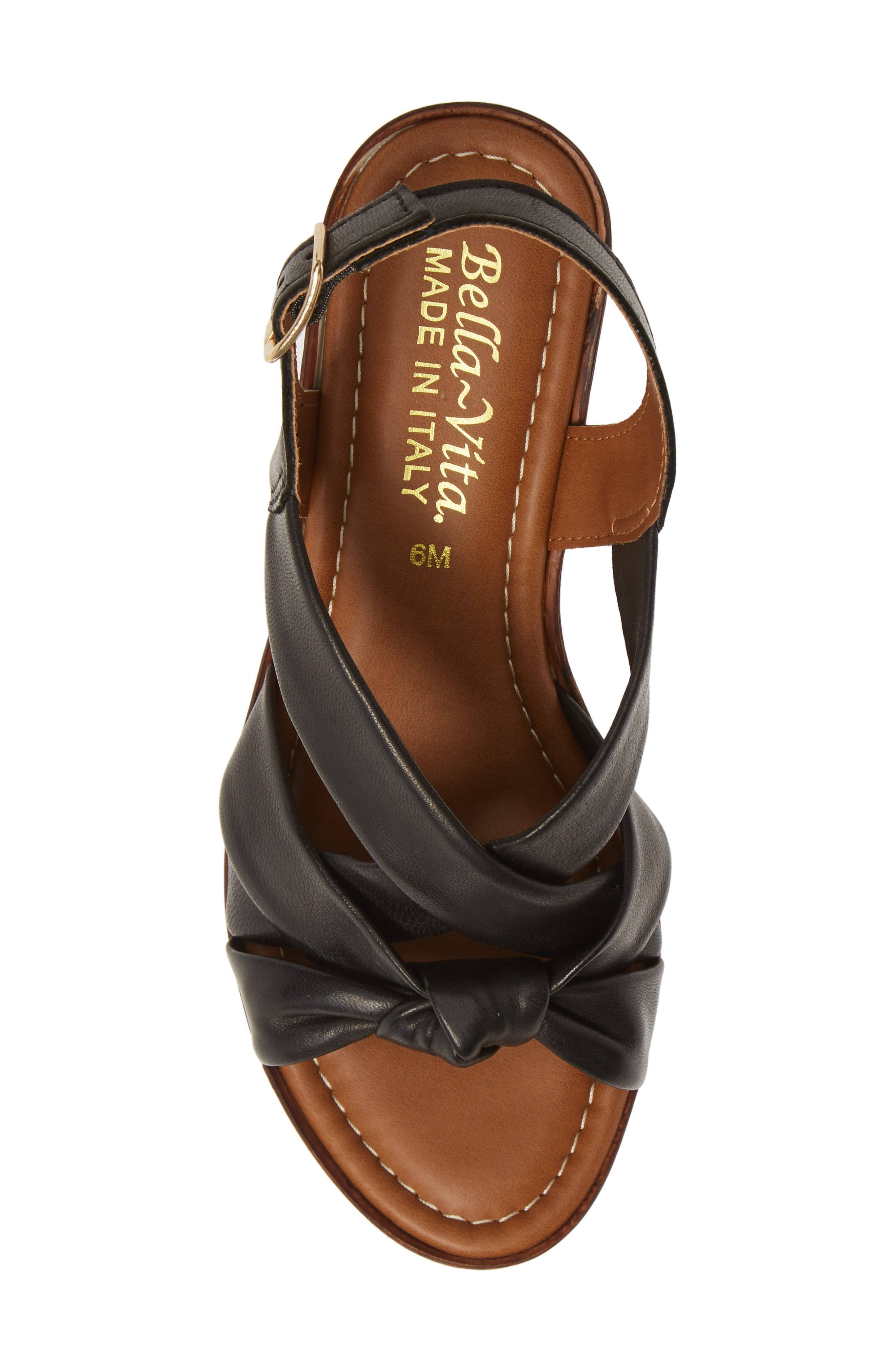 BELLA VITA, Italy Wedge Sandal, Alternate thumbnail 5, color, BLACK ITALIAN LEATHER