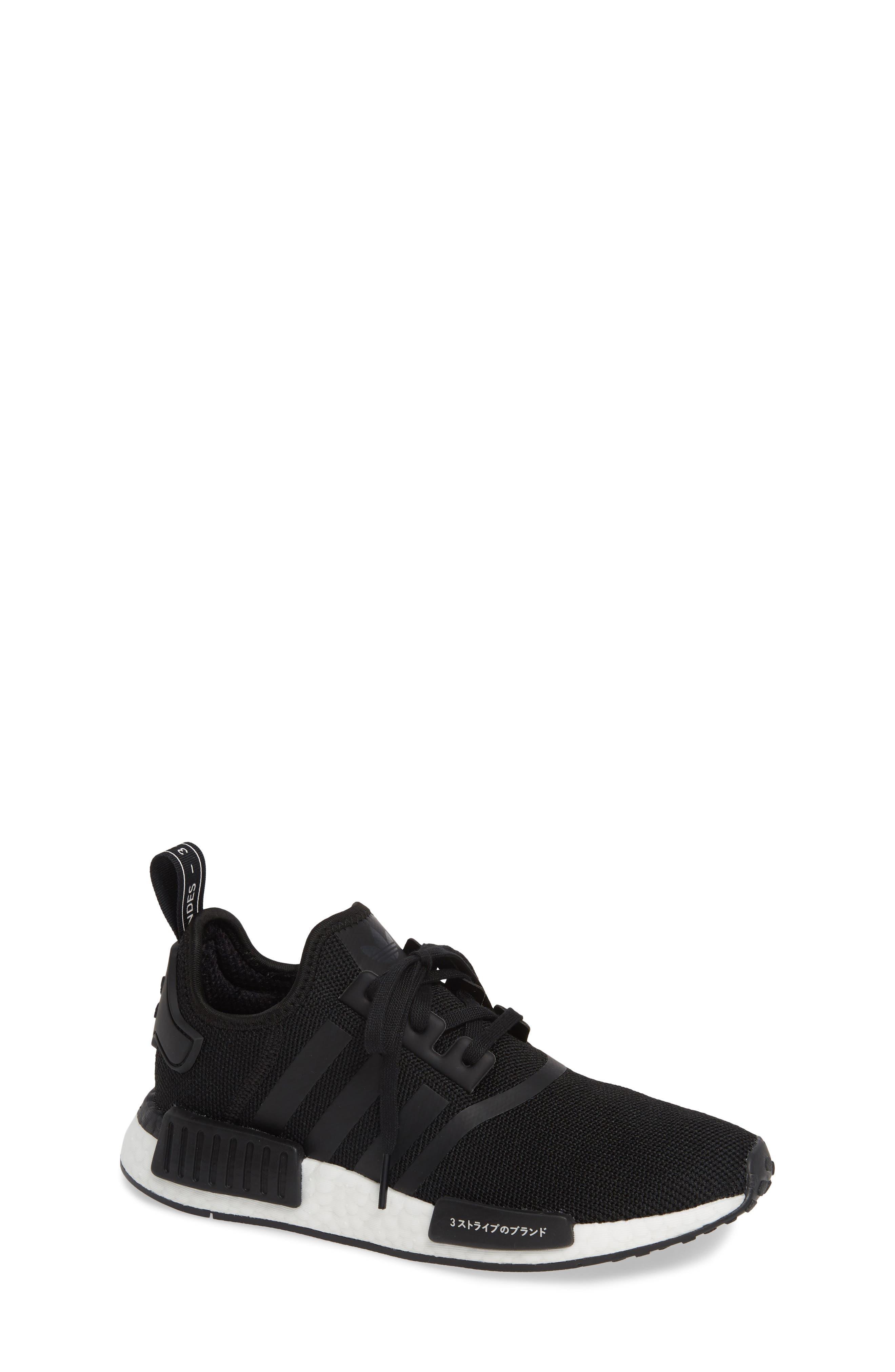 ADIDAS, NMD R1 Sneaker, Main thumbnail 1, color, CORE BLACK/ BLACK/ ORCHID TINT