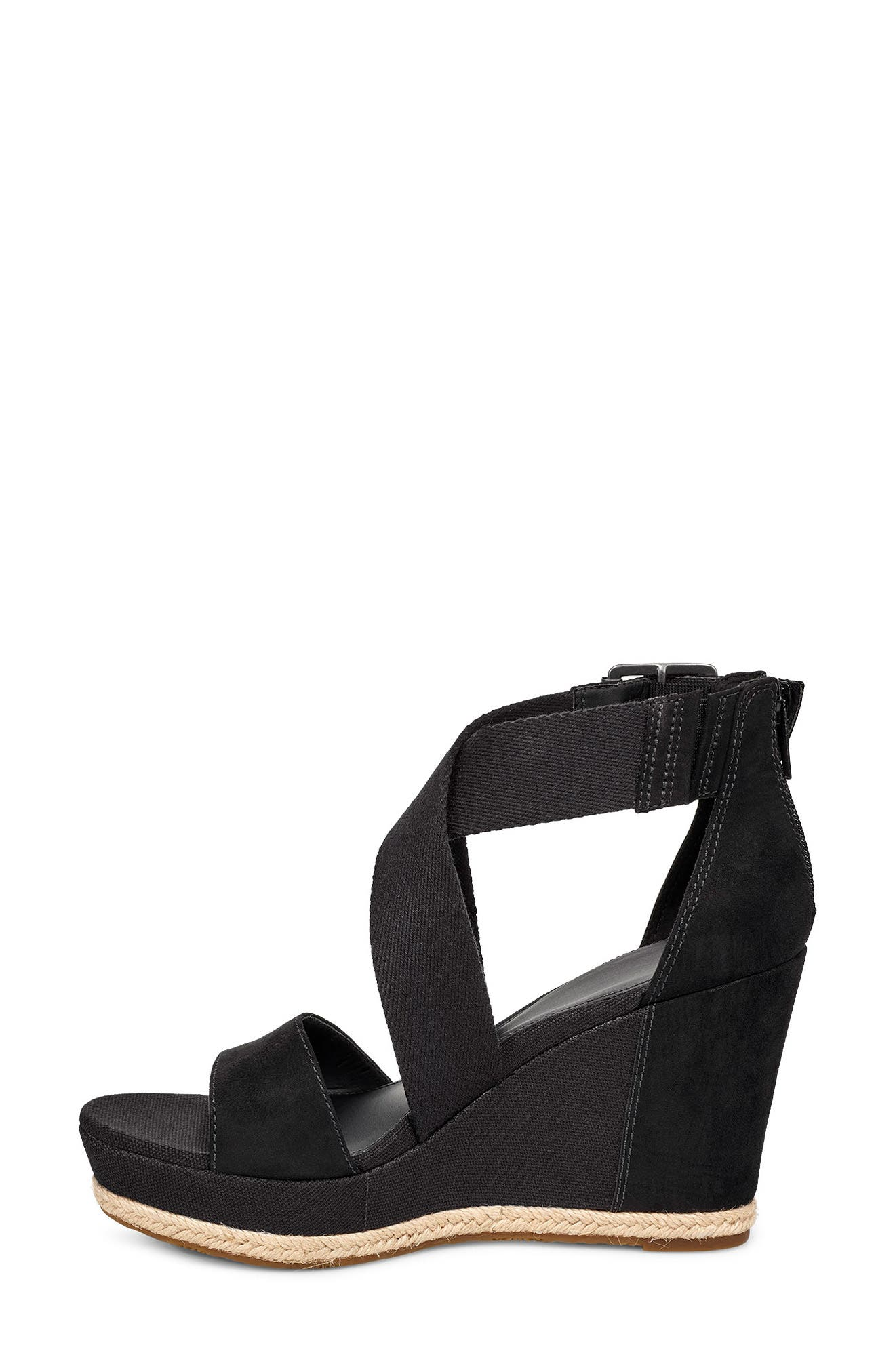 UGG<SUP>®</SUP>, Calla Wedge Sandal, Alternate thumbnail 6, color, BLACK FABRIC