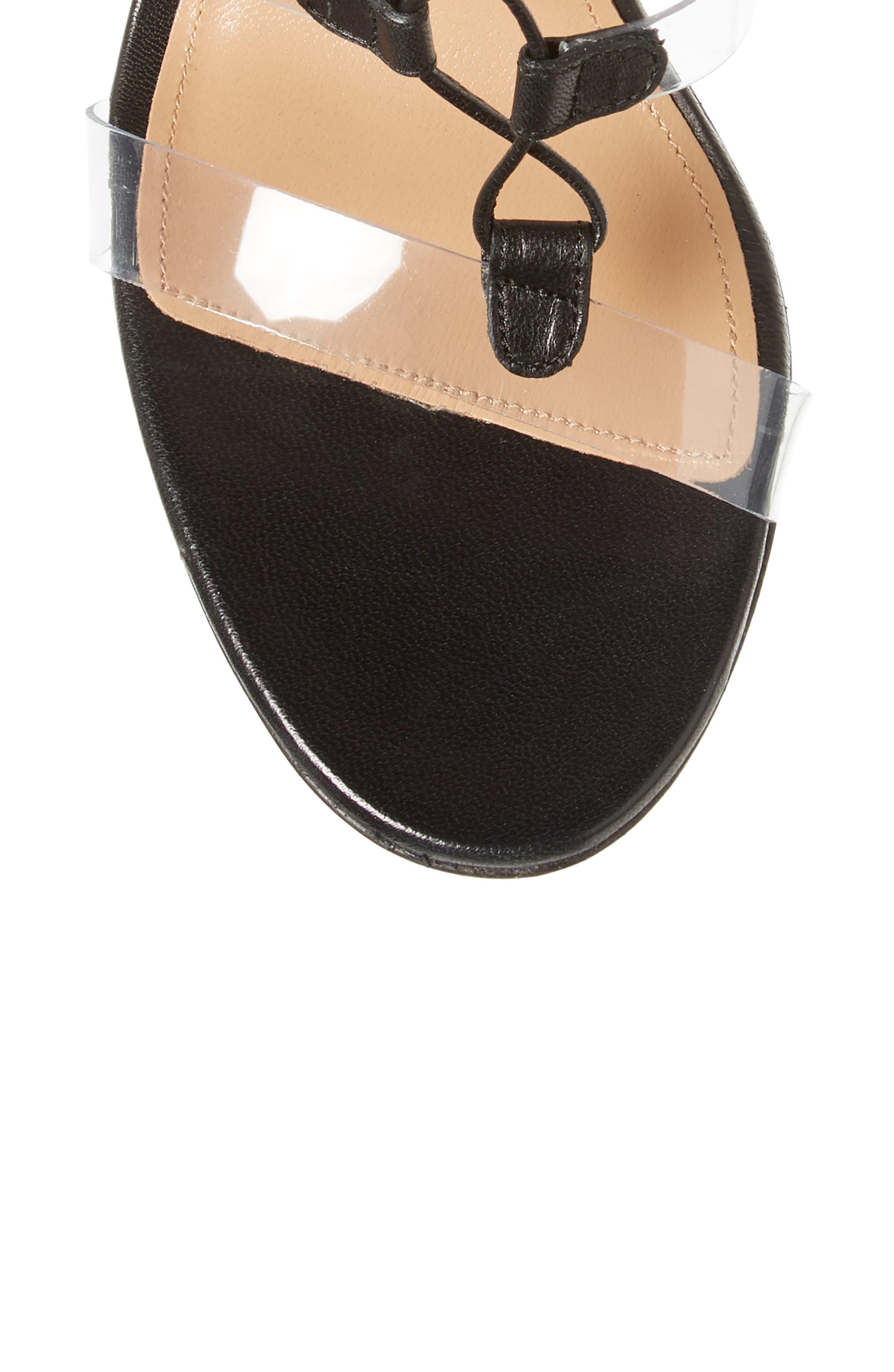 AQUAZZURA, Milos PVC Lace-Up Sandal, Alternate thumbnail 5, color, BLACK