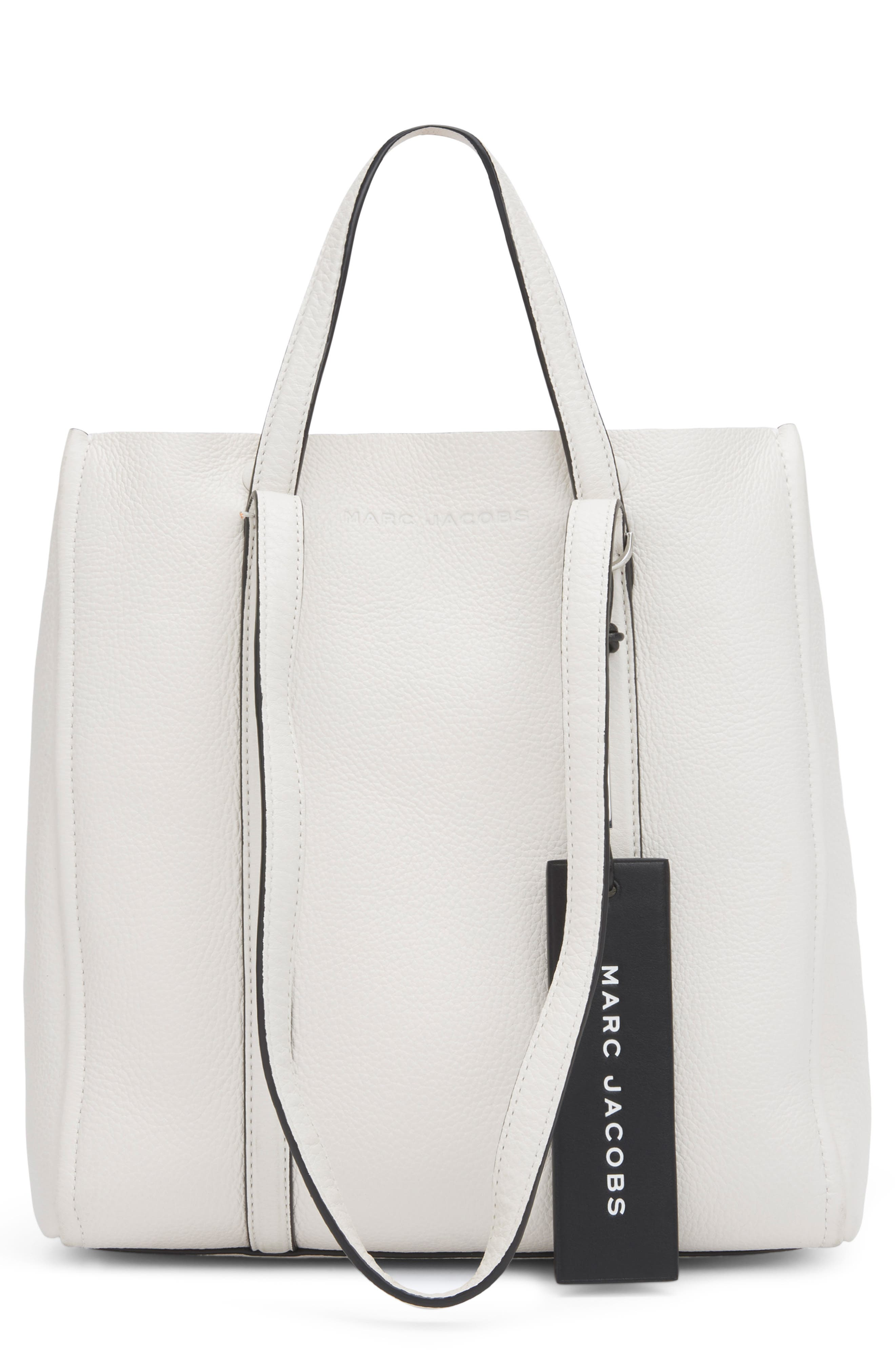 MARC JACOBS The Tag 27 Leather Tote, Main, color, PORCELAIN