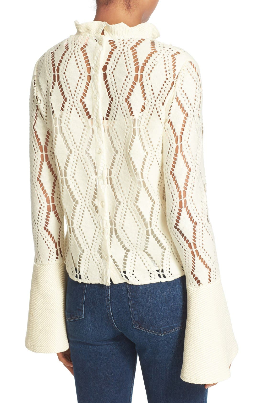 SEE BY CHLOÉ, Lace Top, Alternate thumbnail 2, color, 101