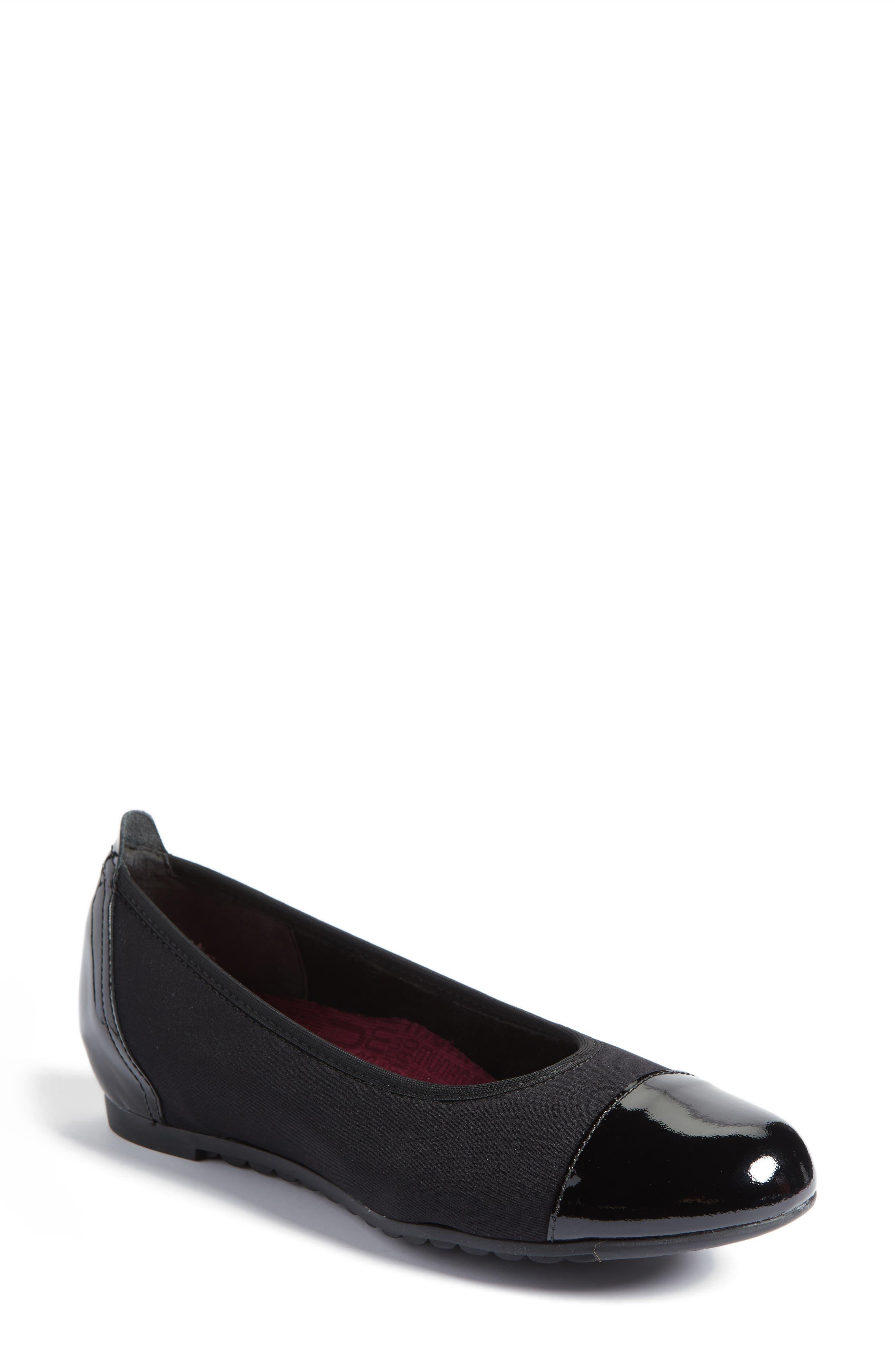 MUNRO Henlee Cap Toe Flat, Main, color, BLACK FABRIC