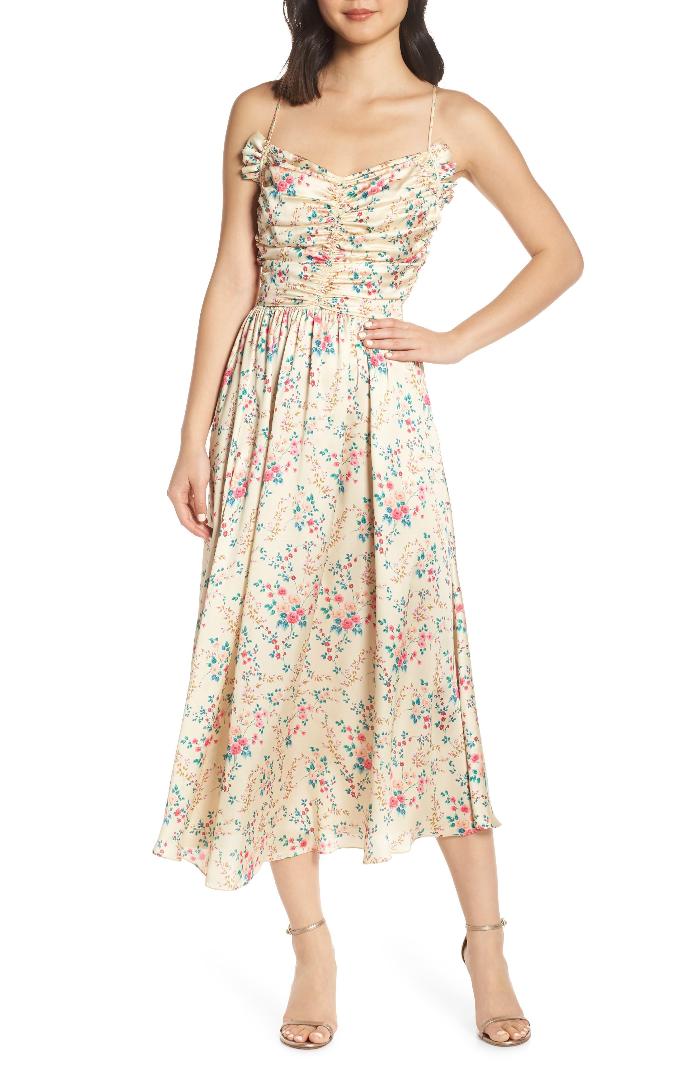 Jill Jill Stuart Floral Charmeuse Midi Dress, Yellow