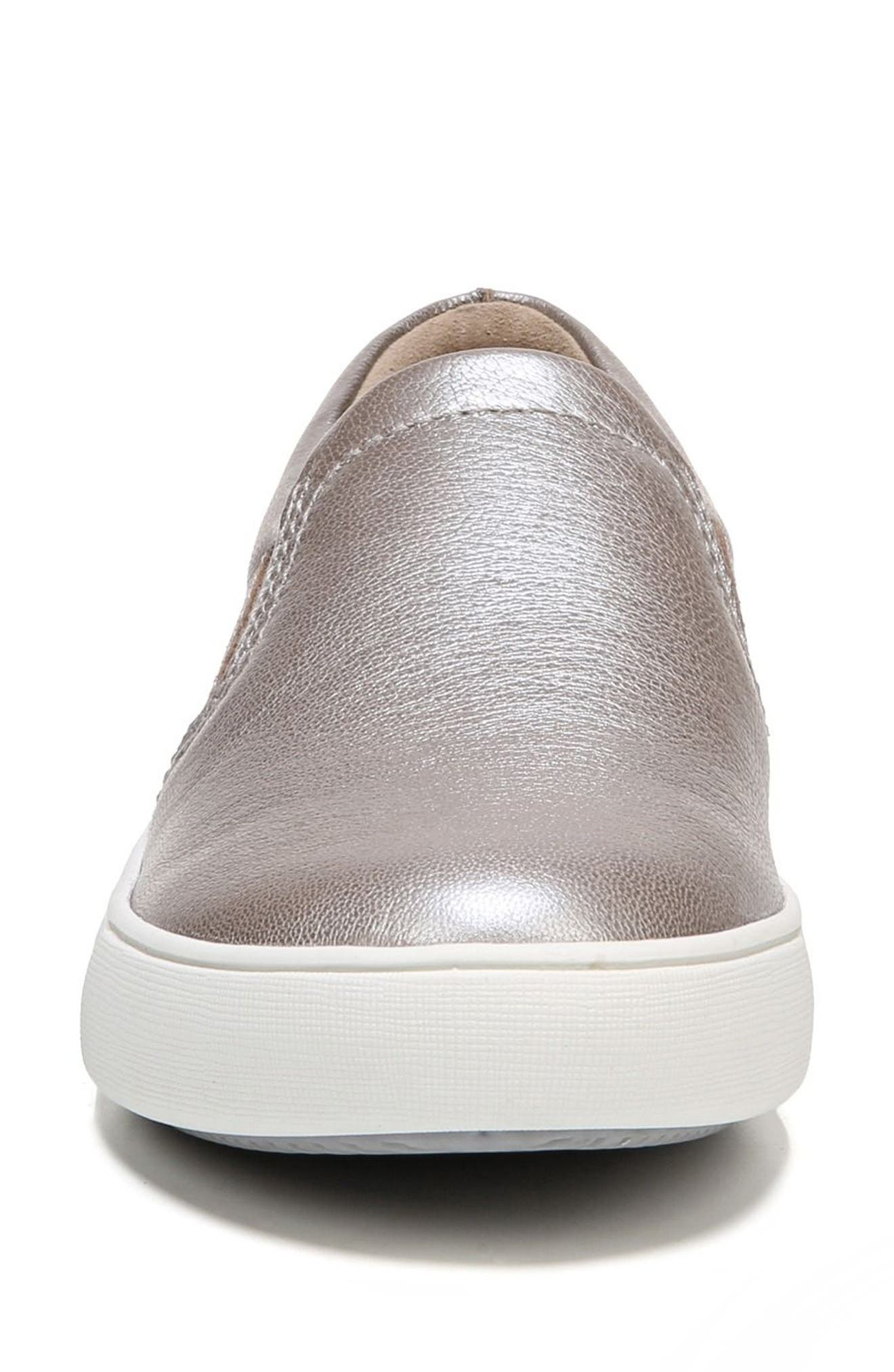 NATURALIZER, Marianne Slip-On Sneaker, Alternate thumbnail 4, color, SILVER LEATHER
