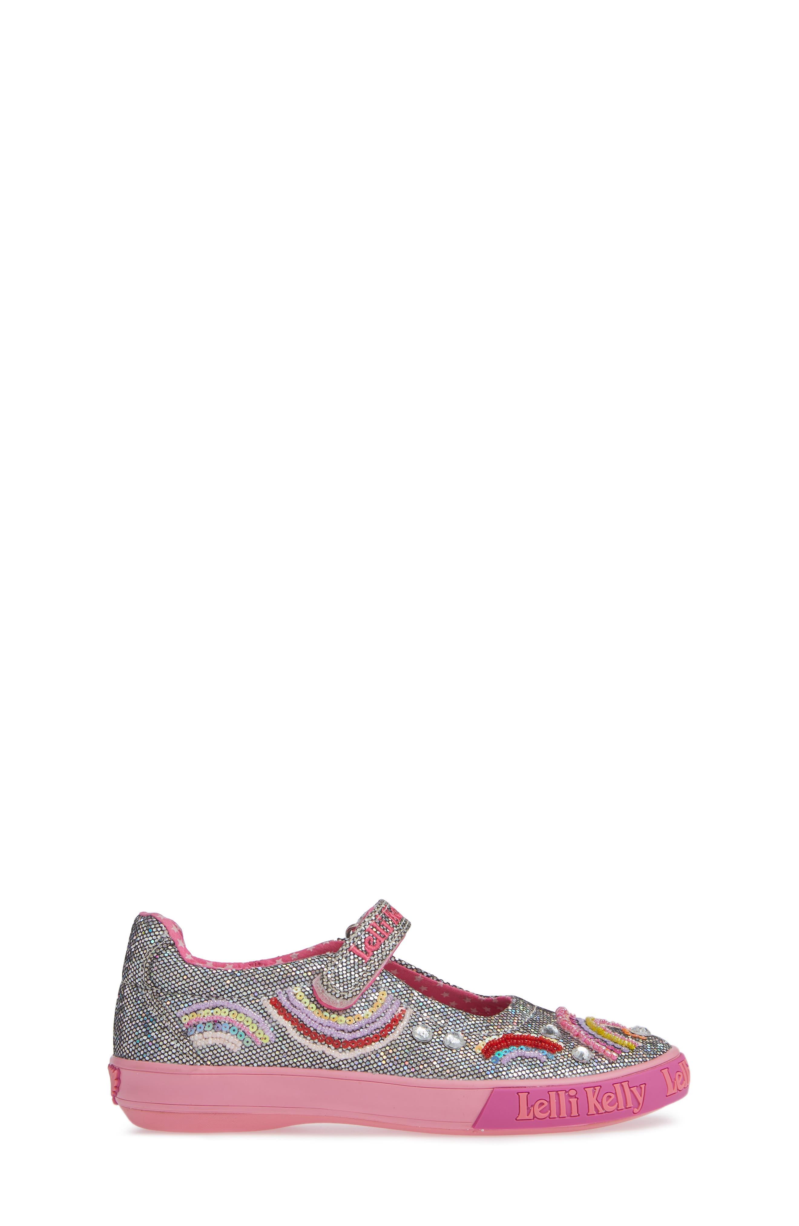 LELLI KELLY, Beaded Rainbow Mary Jane Sneaker, Alternate thumbnail 3, color, PEWTER