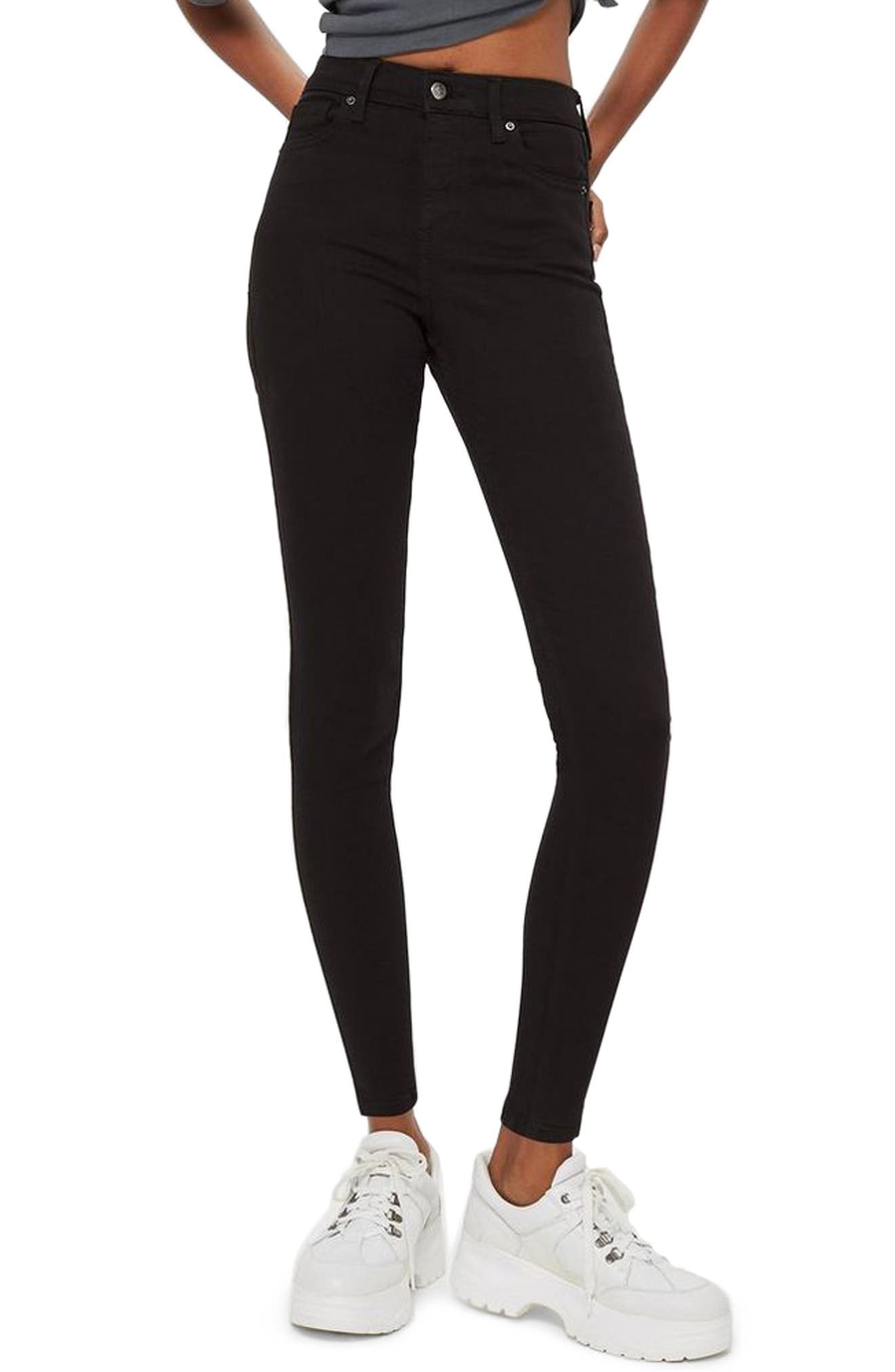 TOPSHOP, Jamie Black Jeans, Main thumbnail 1, color, BLACK