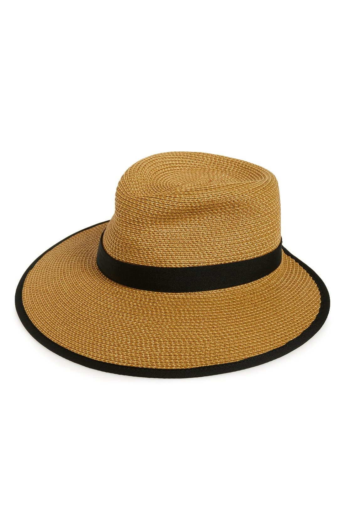 ERIC JAVITS, 'Sun Crest' Packable Hybrid Fedora Visor, Main thumbnail 1, color, NATURAL/ BLACK