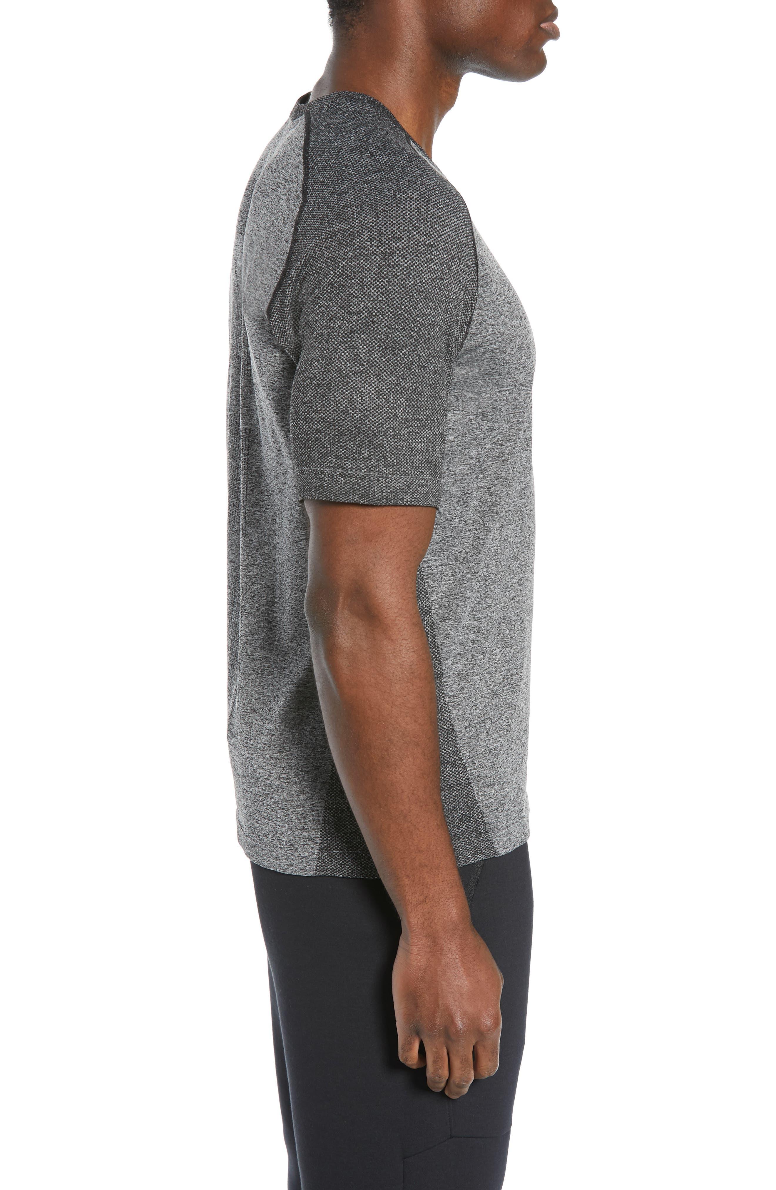 ZELLA, Seamless Raglan T-Shirt, Alternate thumbnail 4, color, BLACK OXIDE MELANGE