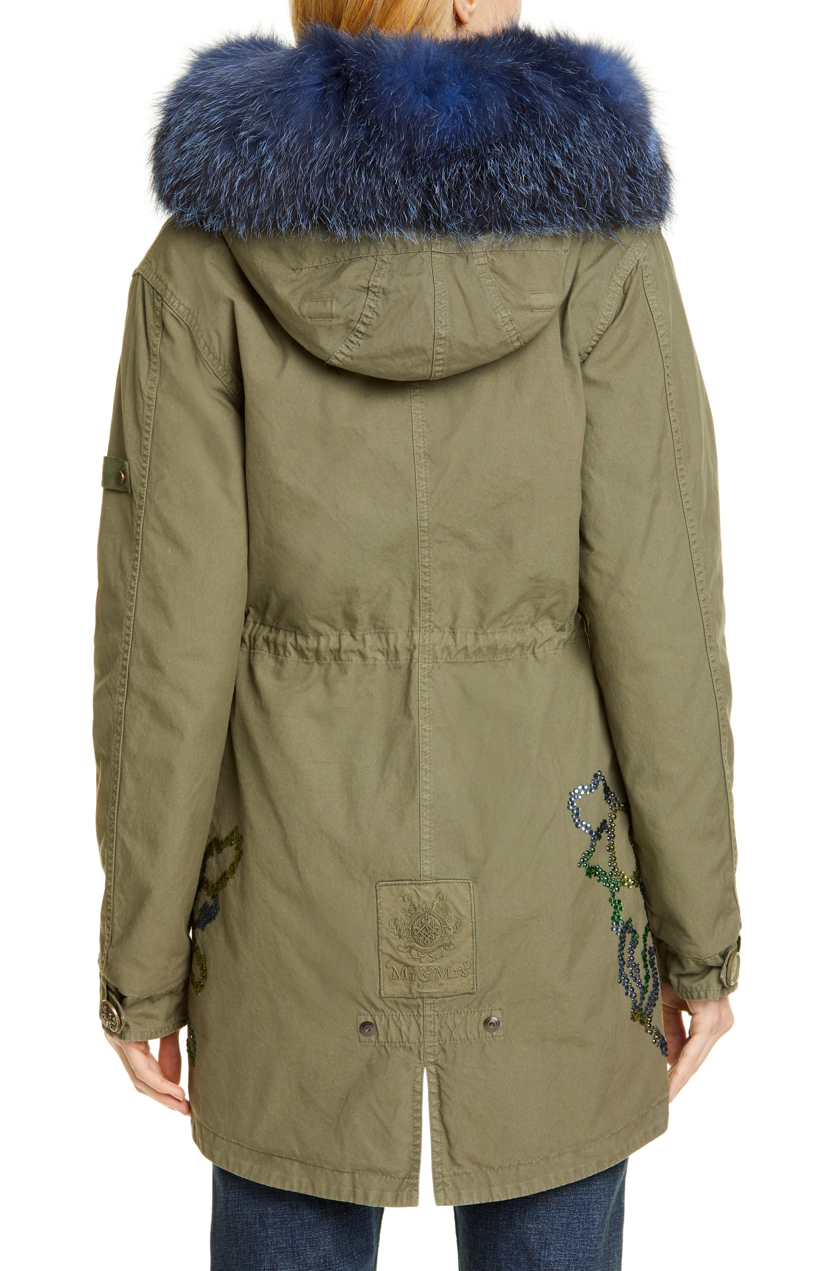 MR & MRS ITALY, Crystal Embellished Parka with Removable Genuine Fox Fur Trim, Alternate thumbnail 3, color, ARMY