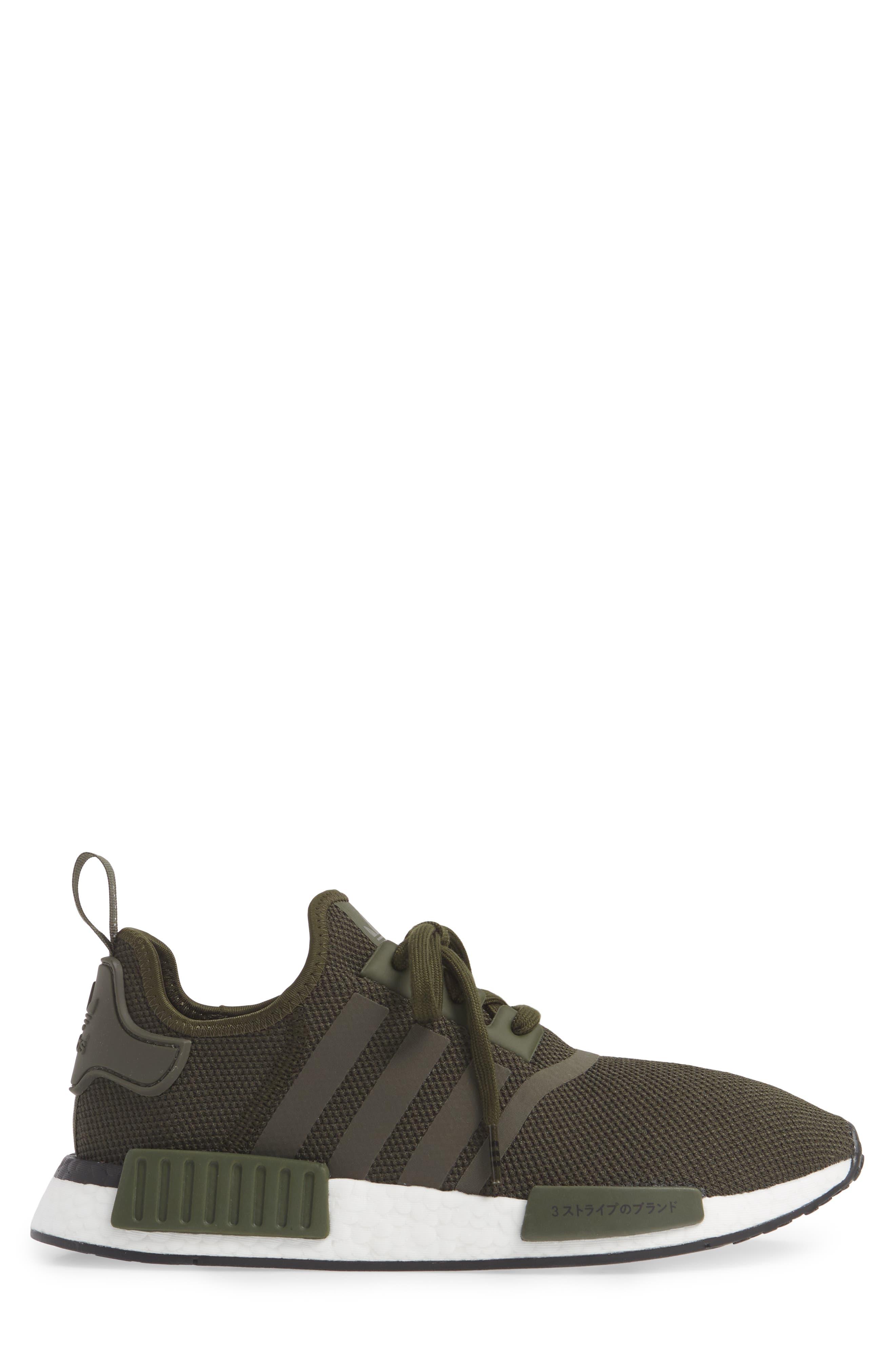 ADIDAS, Originals NMD R1 Sneaker, Alternate thumbnail 3, color, NIGHT CARGO/ BLACK