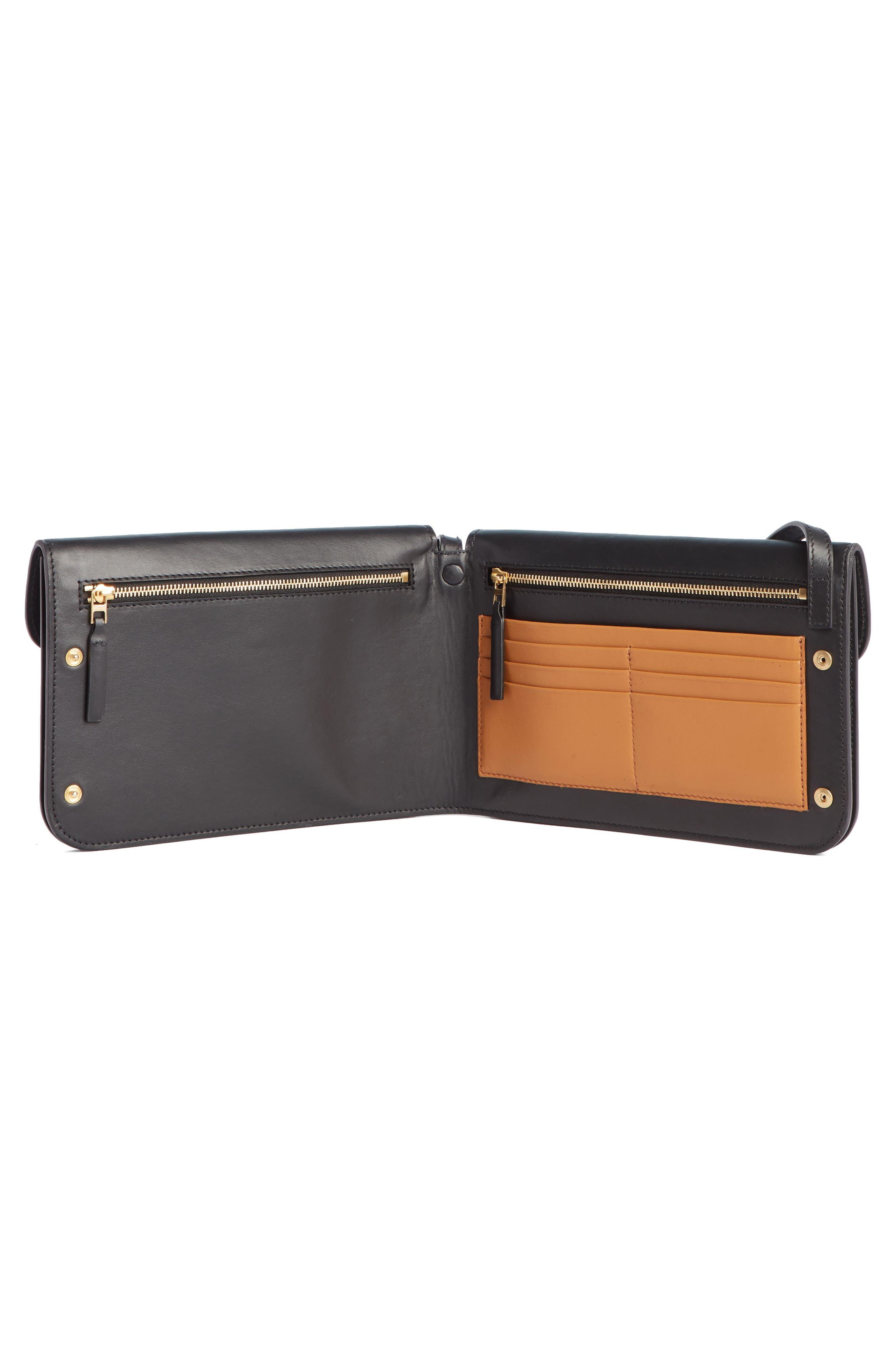 VICTORIA BECKHAM, Twin Leather Crossbody Bag, Alternate thumbnail 4, color, BLACK