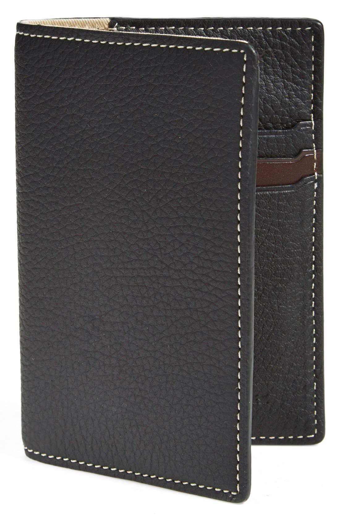 TRASK, 'Jackson' Bison Leather Passport Holder, Main thumbnail 1, color, 001