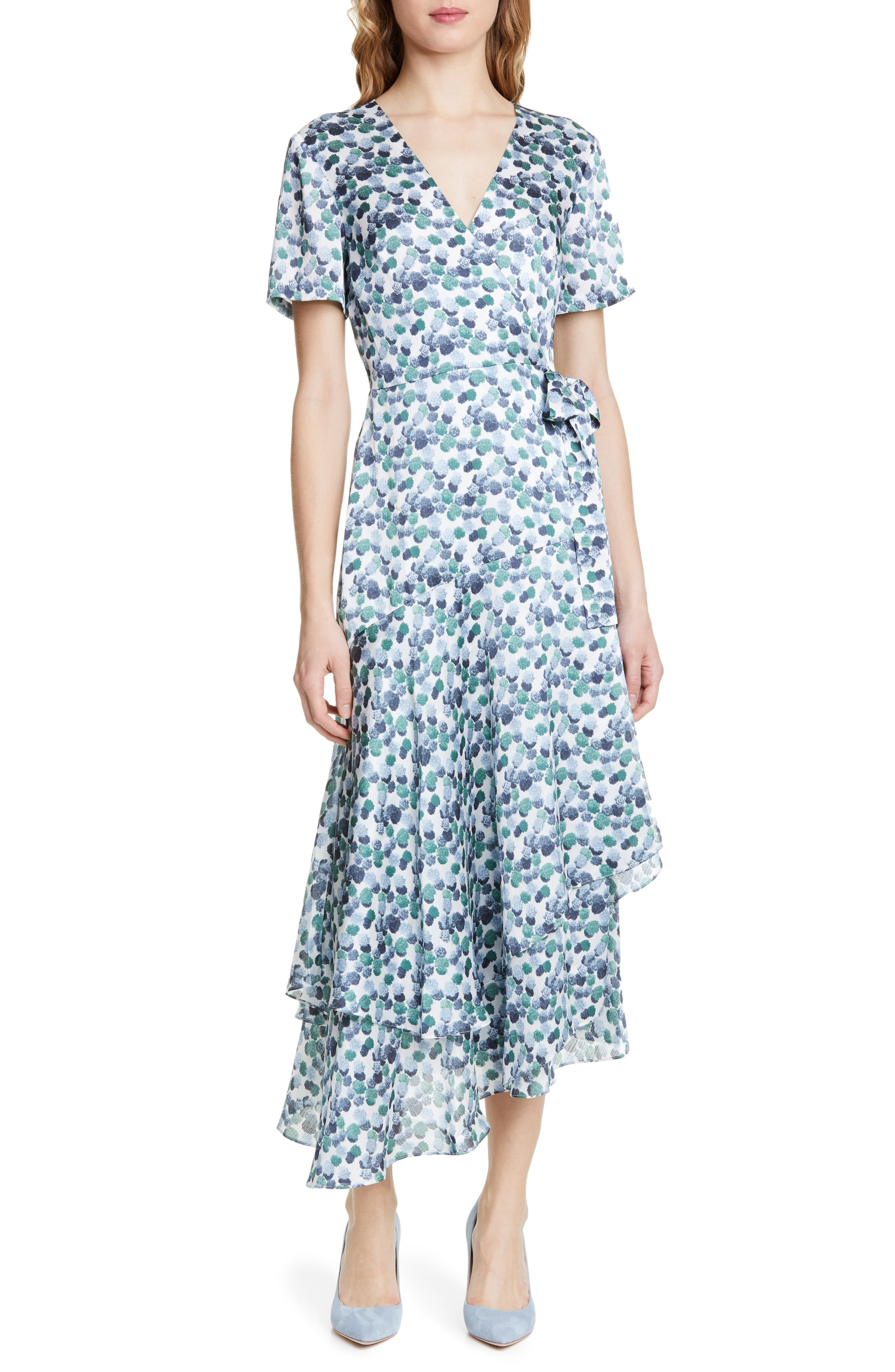 1920s Day Dresses, Tea Dresses, Mature Dresses with Sleeves Womens Club Monaco Zaydie Asymmetrical Wrap Dress $298.00 AT vintagedancer.com