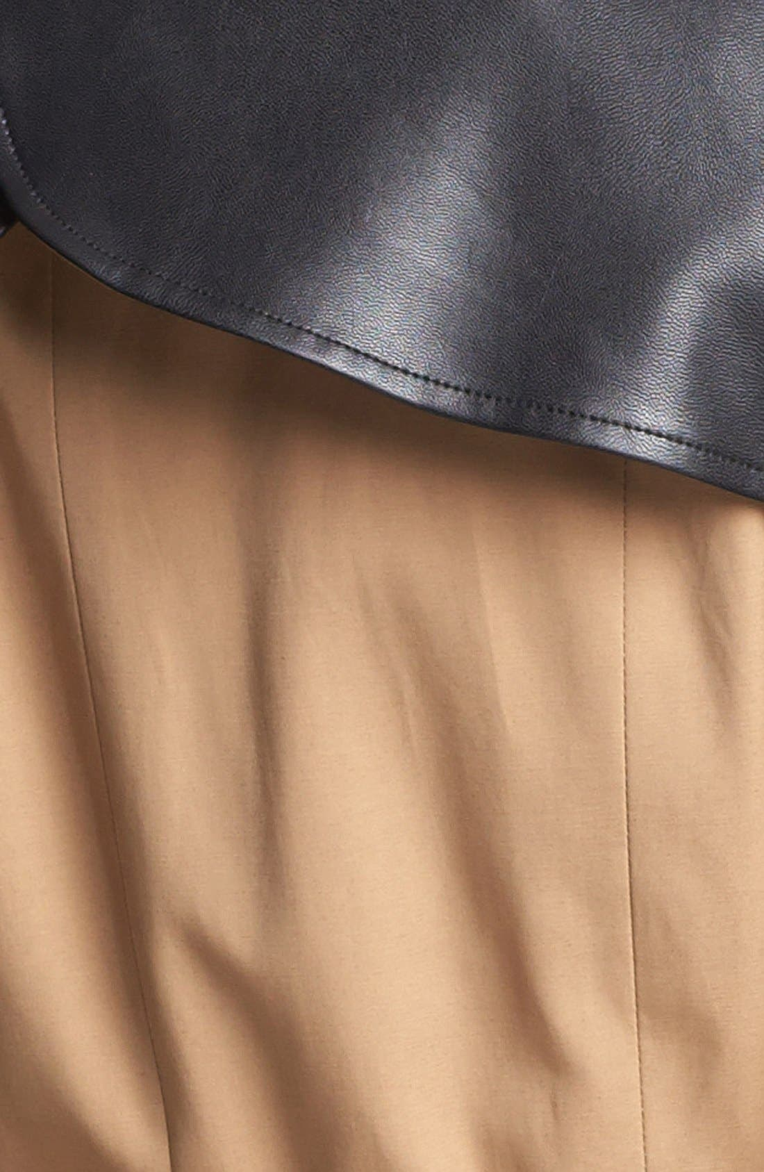 BEBE, Faux Leather Trim Trench Coat, Alternate thumbnail 4, color, 250