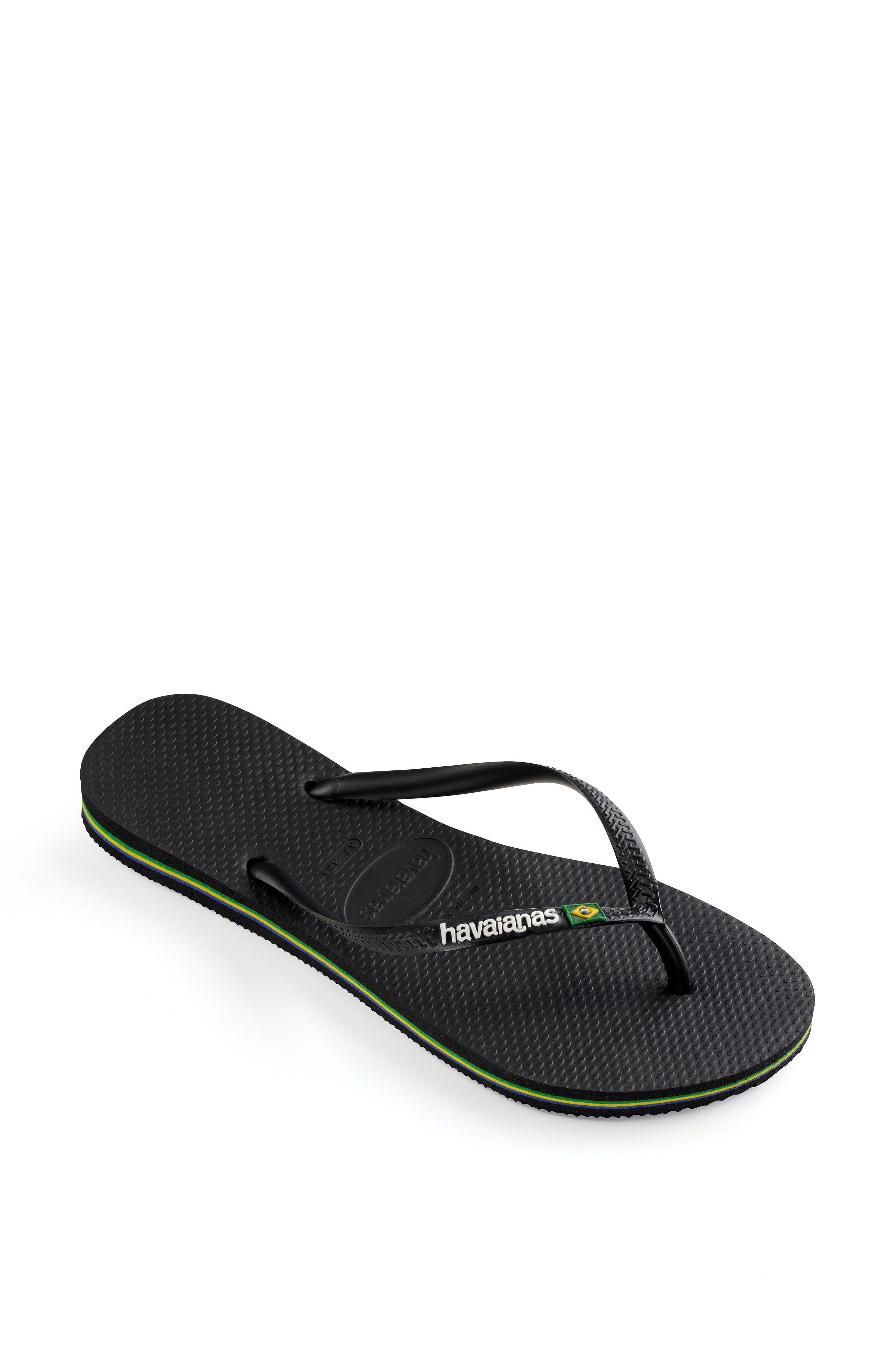 HAVAIANAS, Slim Brazil Flip Flop, Alternate thumbnail 2, color, BLACK