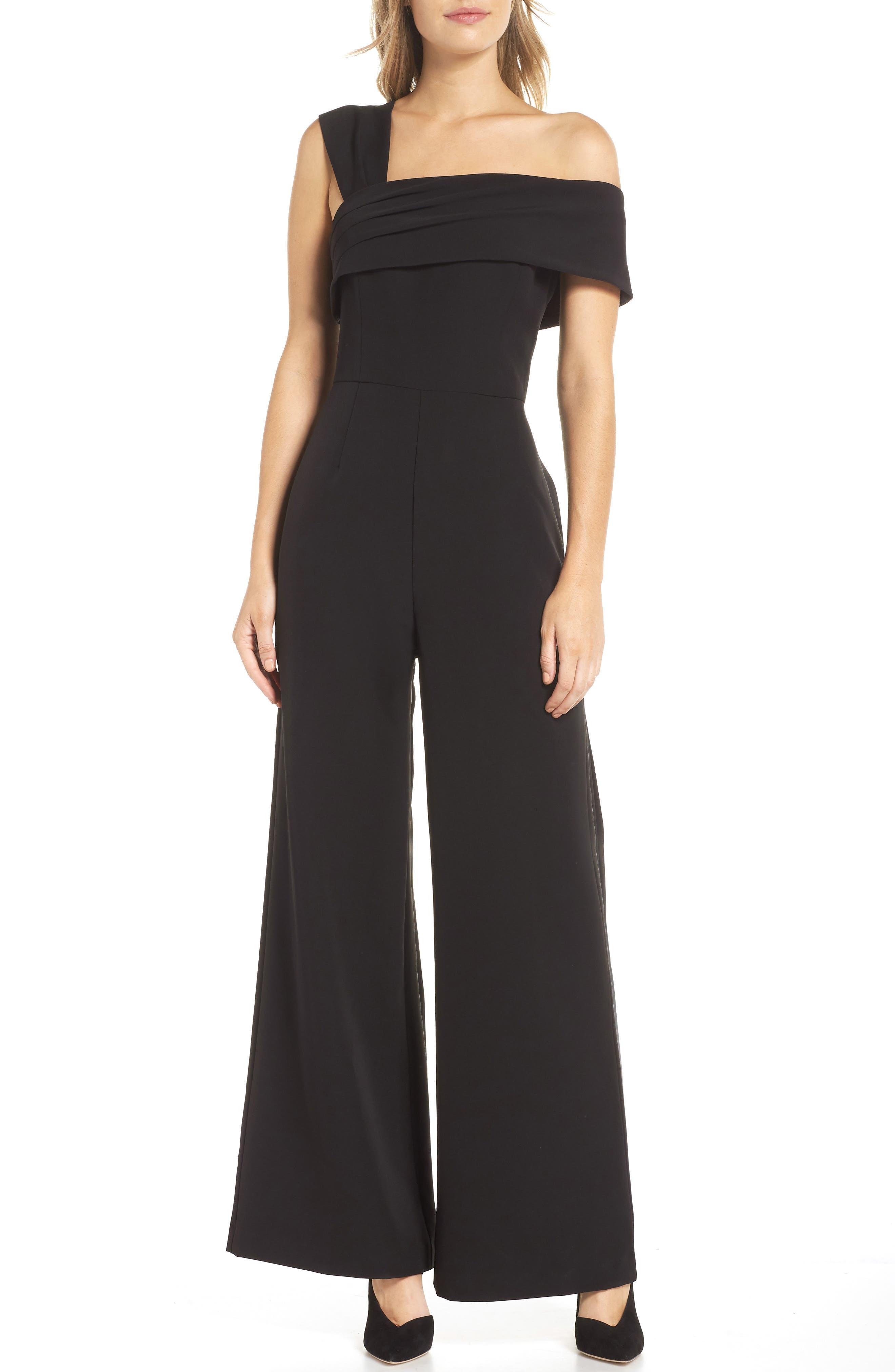 ELIZA J, Asymmetrical Neckline Jumpsuit, Main thumbnail 1, color, BLACK