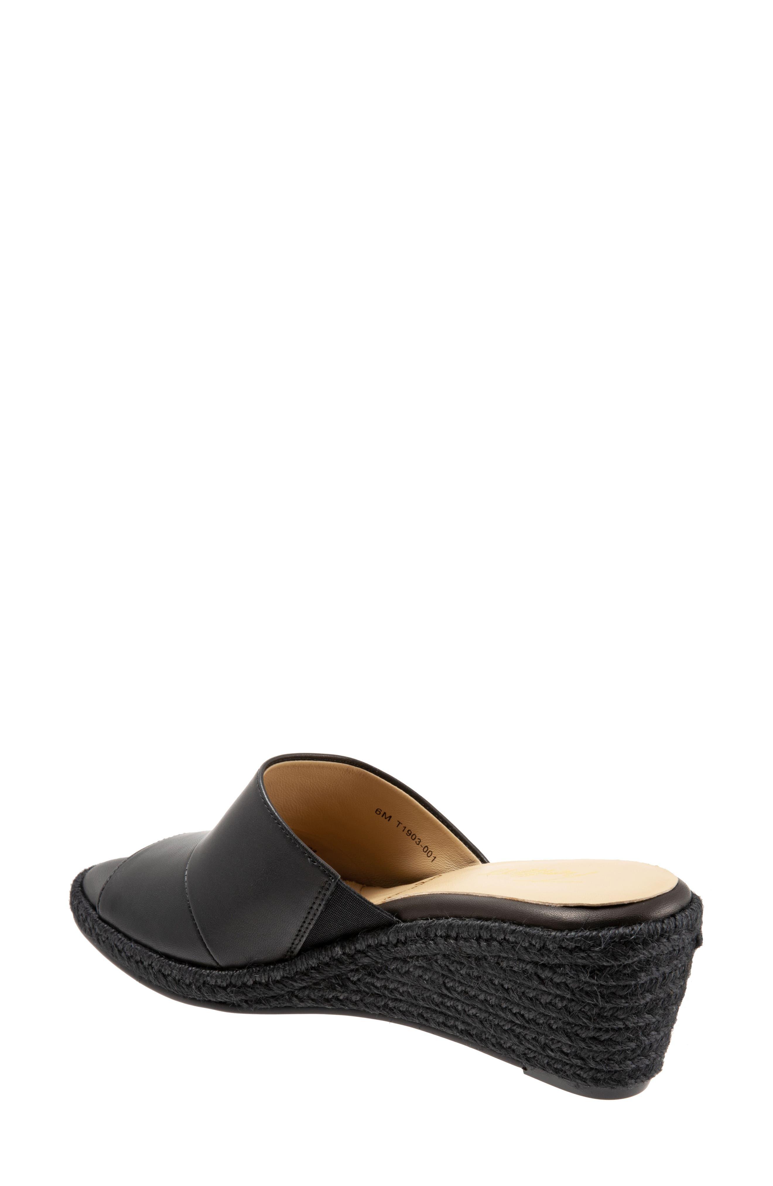TROTTERS, Colony Wedge Slide Sandal, Alternate thumbnail 2, color, BLACK LEATHER