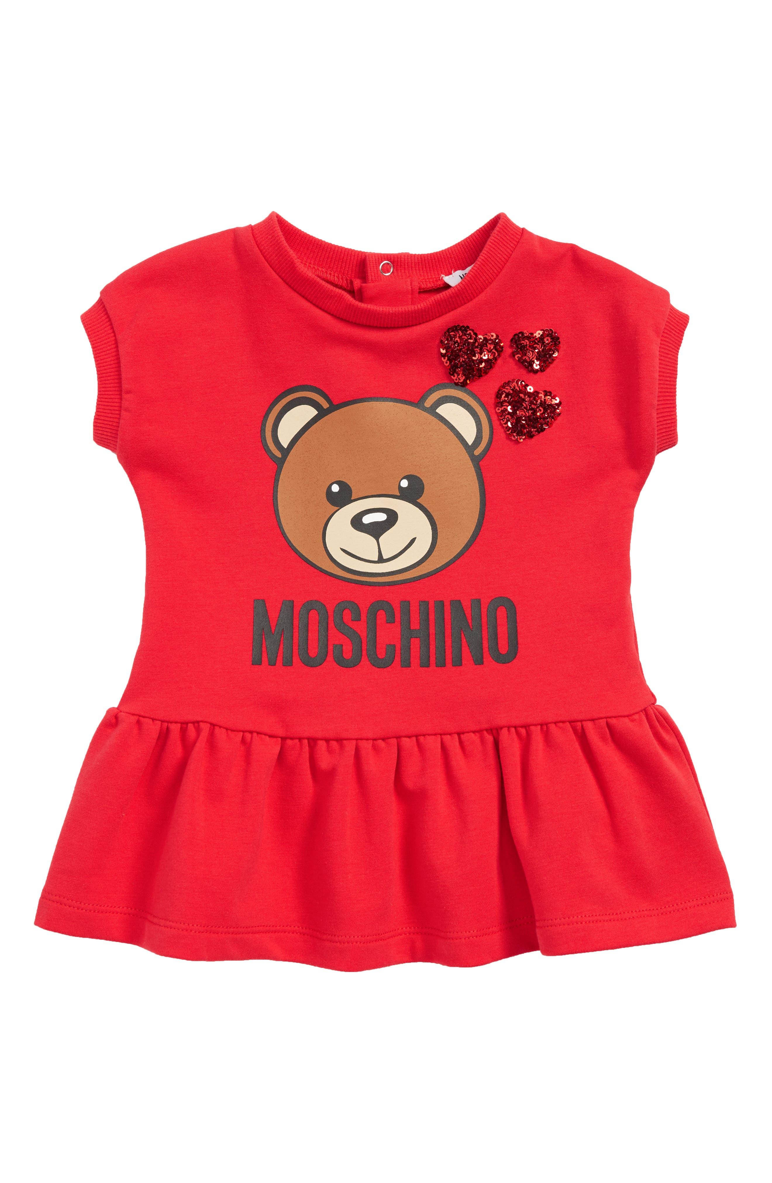 MOSCHINO, Toy Bear & Sequin Heart Dress, Main thumbnail 1, color, 600