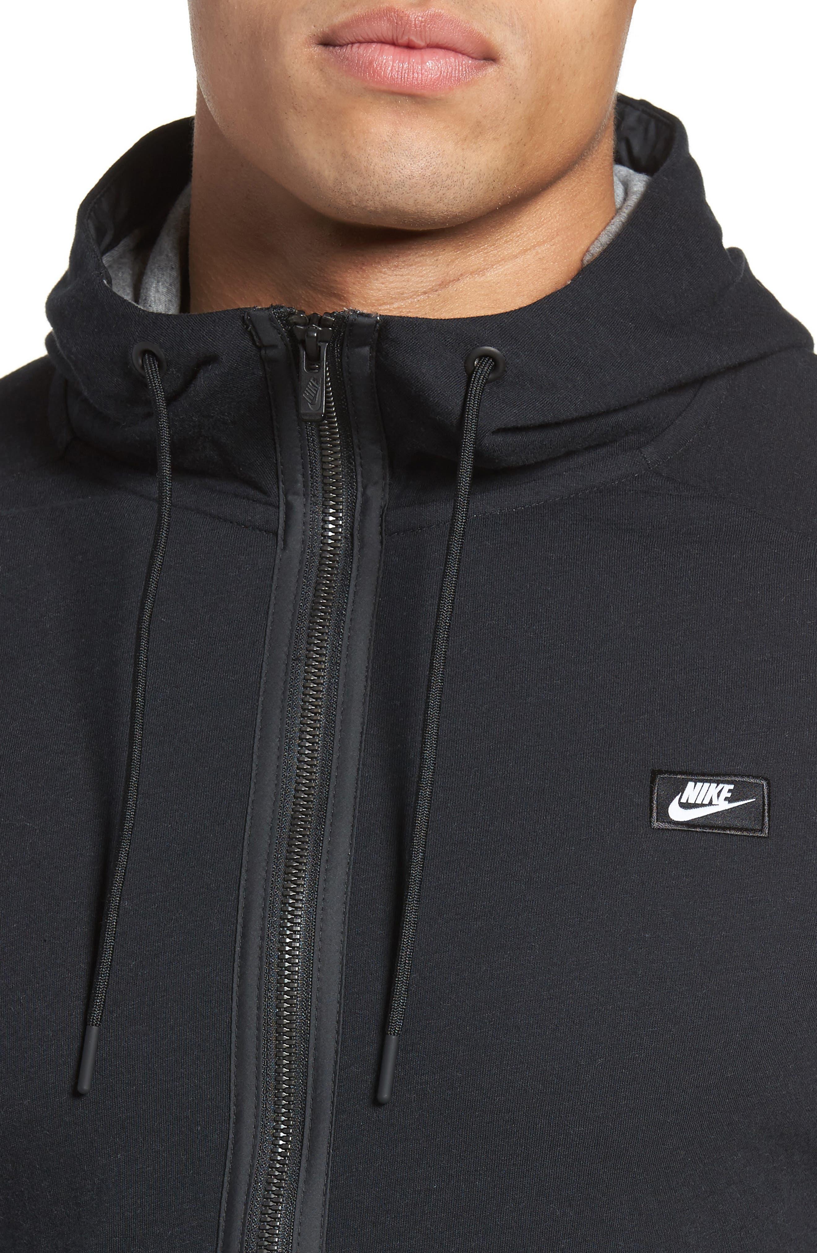 NIKE, Tech Regular Fit Fleece Hoodie, Alternate thumbnail 5, color, BLACK/ CARBON HEATHER