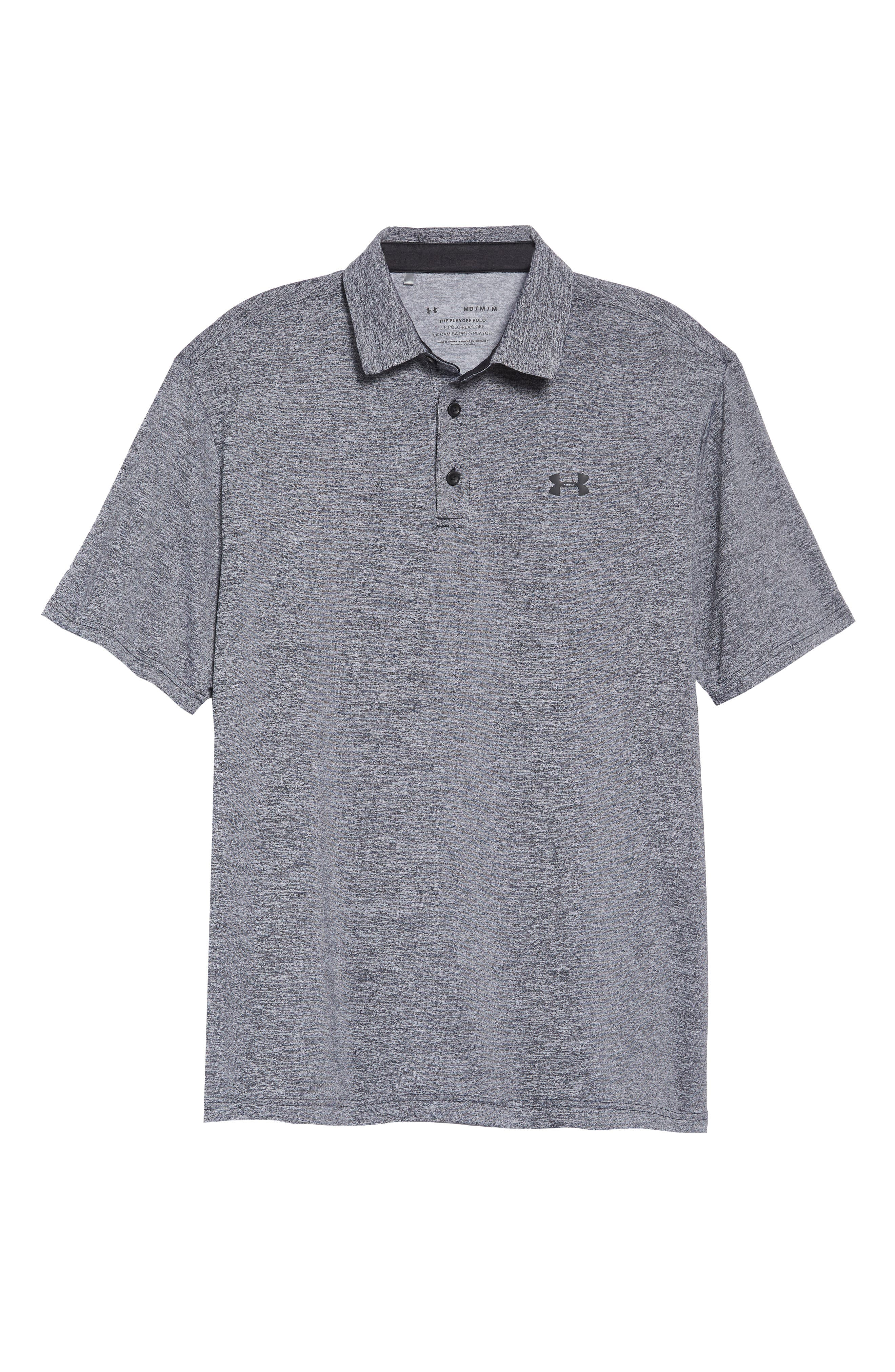 UNDER ARMOUR, Playoff 2.0 Loose Fit Polo, Alternate thumbnail 6, color, BLACK / BLACK / BLACK