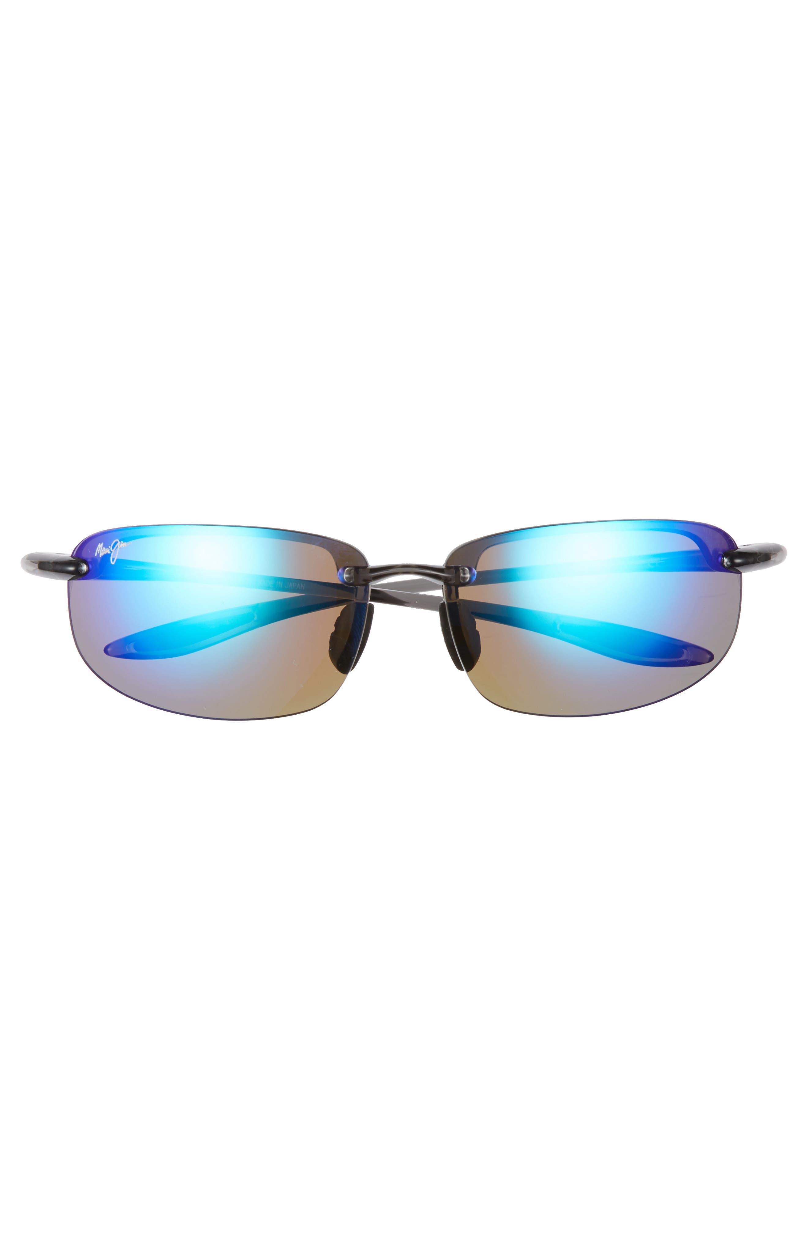 MAUI JIM, 'Ho'okipa - PolarizedPlus<sup>®</sup>2' 63mm Sunglasses, Alternate thumbnail 3, color, SMOKE GREY/ BLUE HAWAII