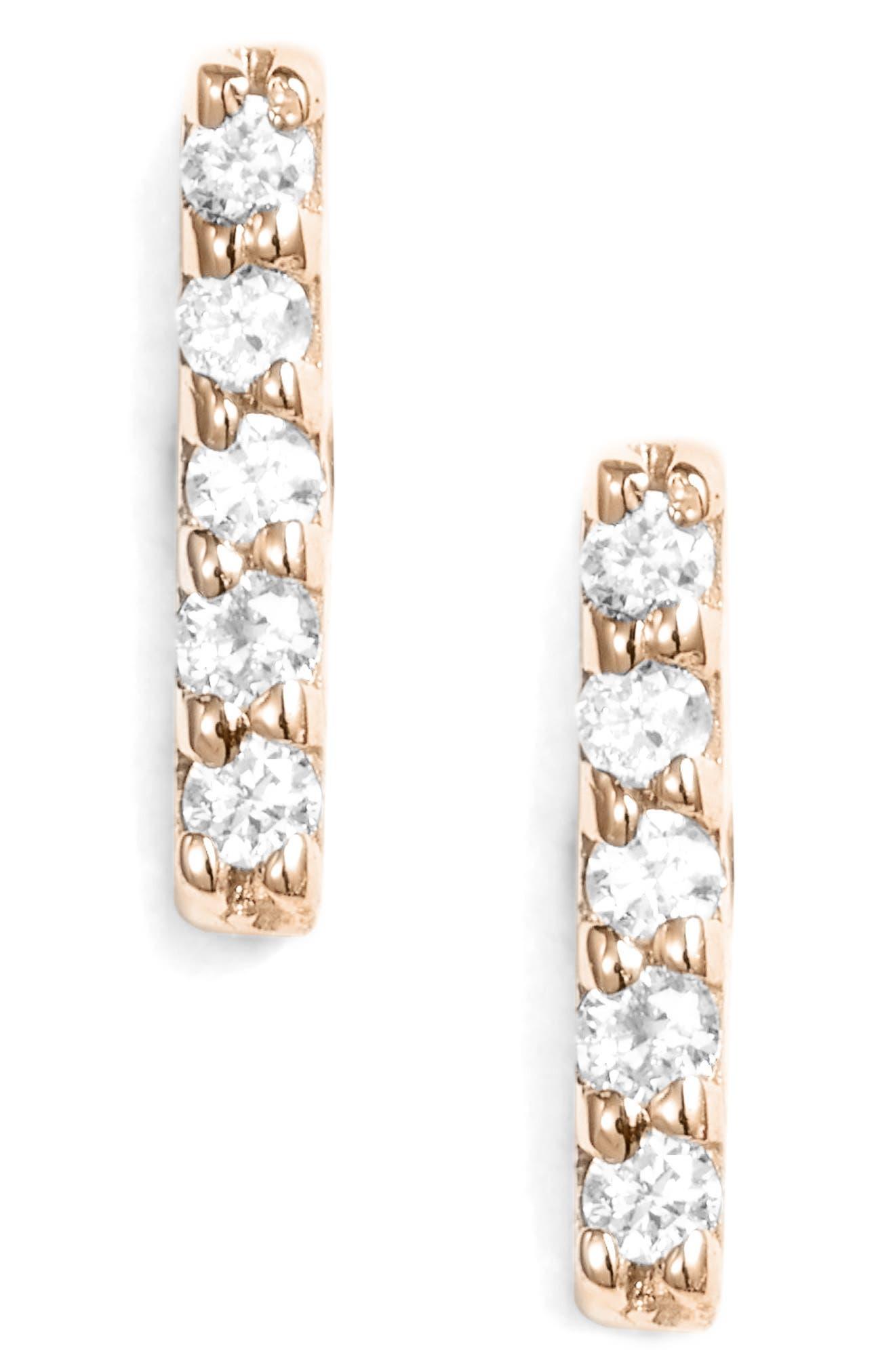 KISMET BY MILKA, 5-Diamond Stick Stud Earring, Main thumbnail 1, color, ROSE GOLD