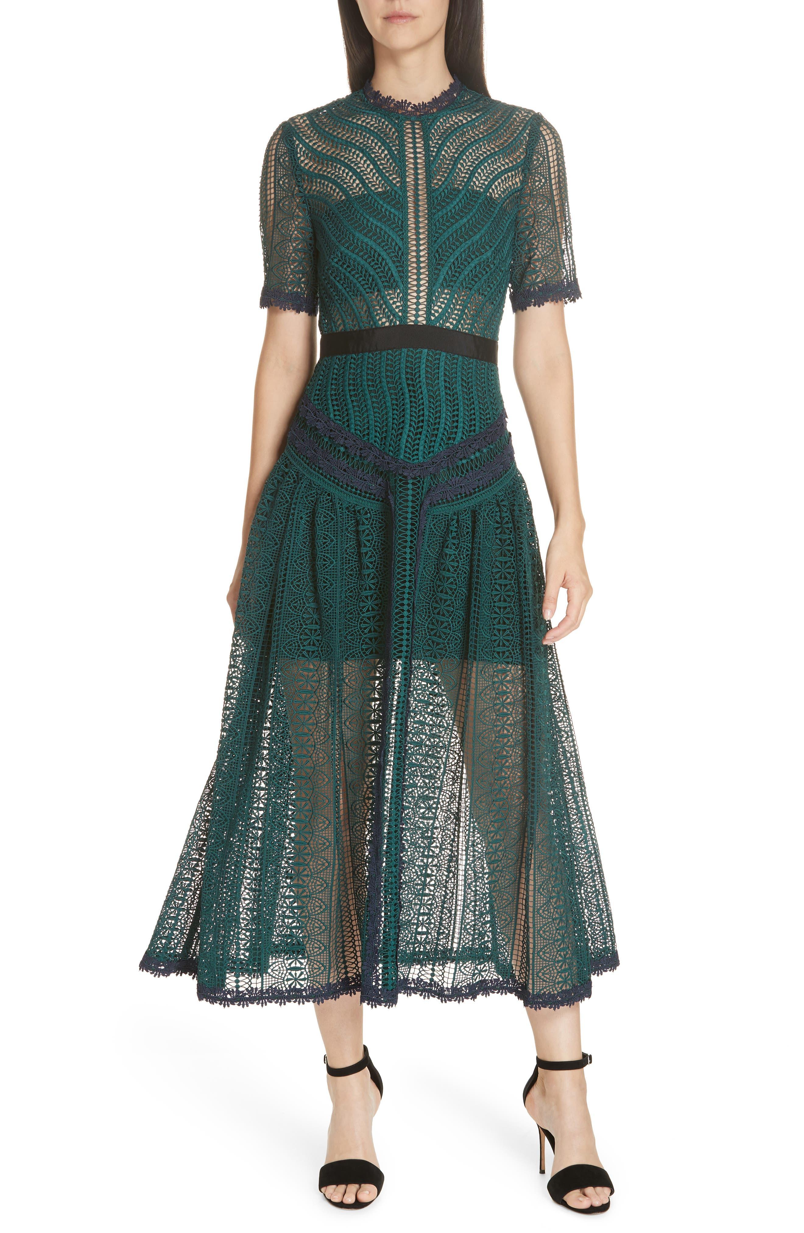 Self-Portrait Wave Lace Midi Dress, Green