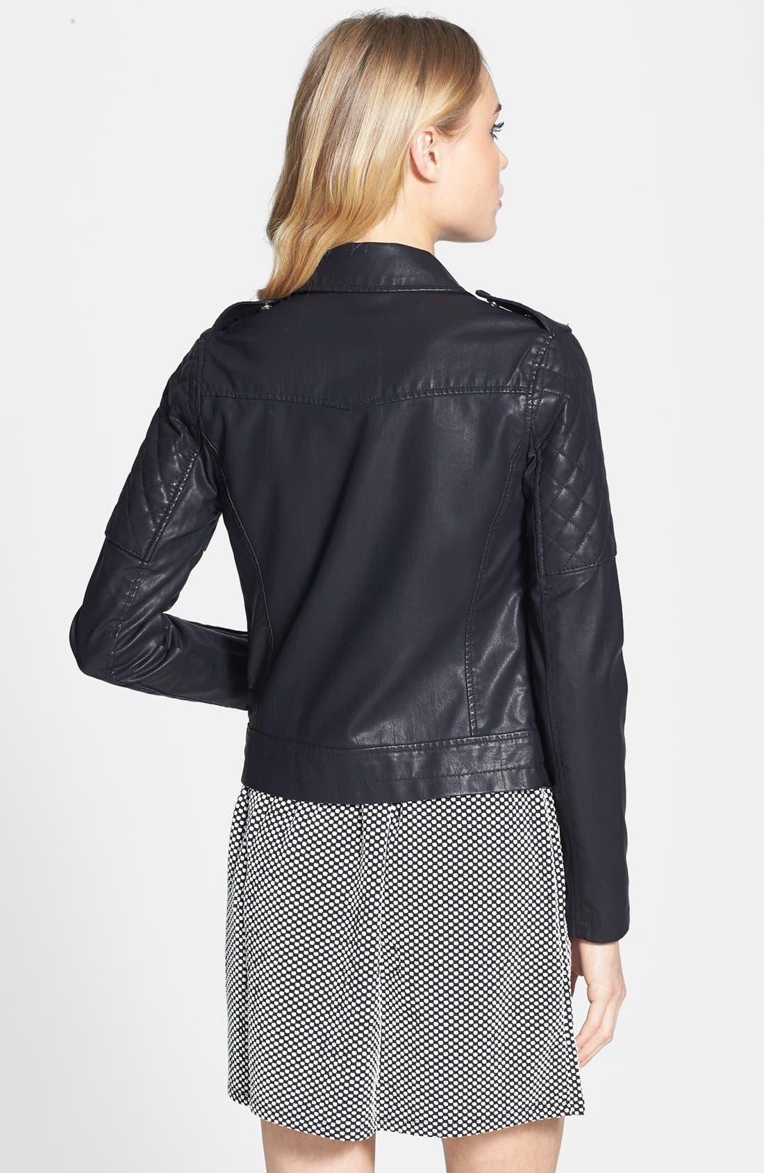 TOPSHOP, 'Wylde' Faux Leather Biker Jacket, Alternate thumbnail 2, color, 001