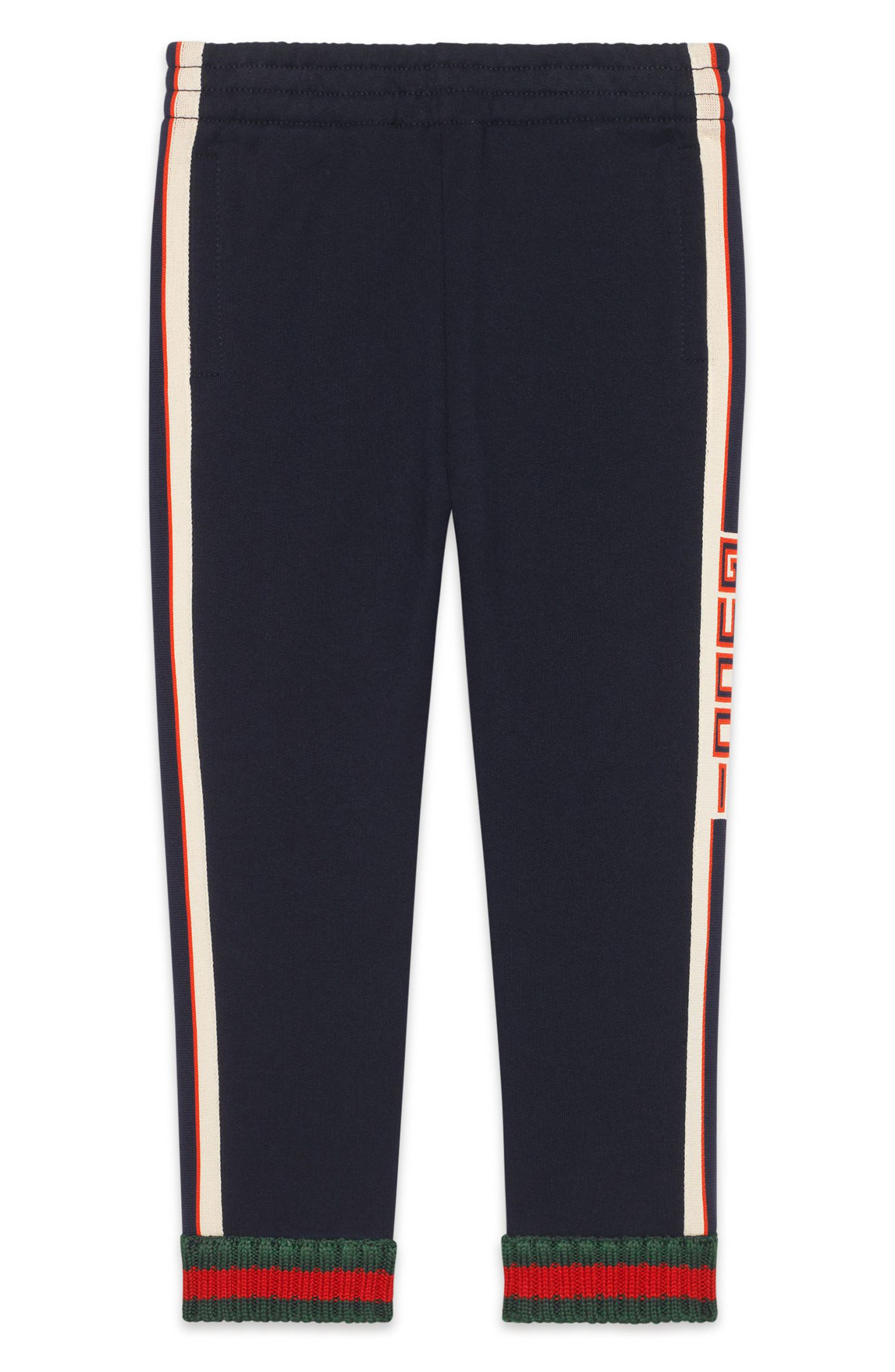 GUCCI, Logo Stripe Jogging Pants, Main thumbnail 1, color, PERIWINKLE/ RED
