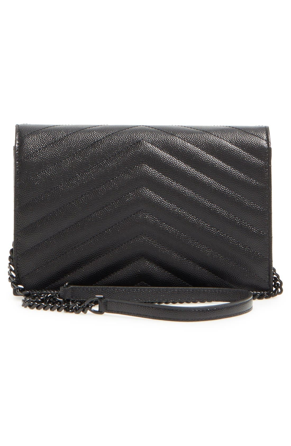 SAINT LAURENT, Quilted Leather Wallet on a Chain, Alternate thumbnail 2, color, NERO