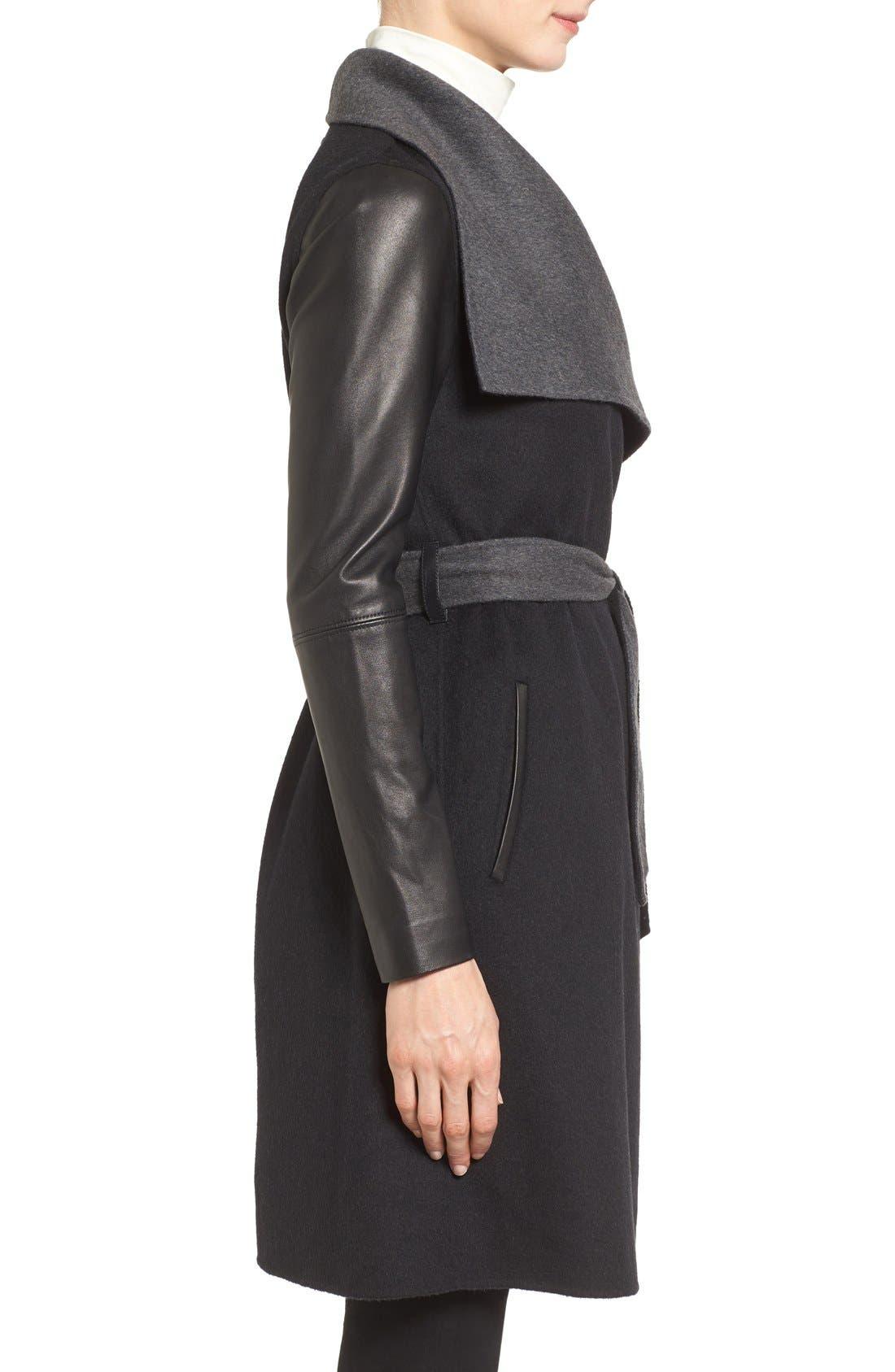 MACKAGE, Leather Sleeve Wool Blend Wrap Coat, Alternate thumbnail 3, color, 001