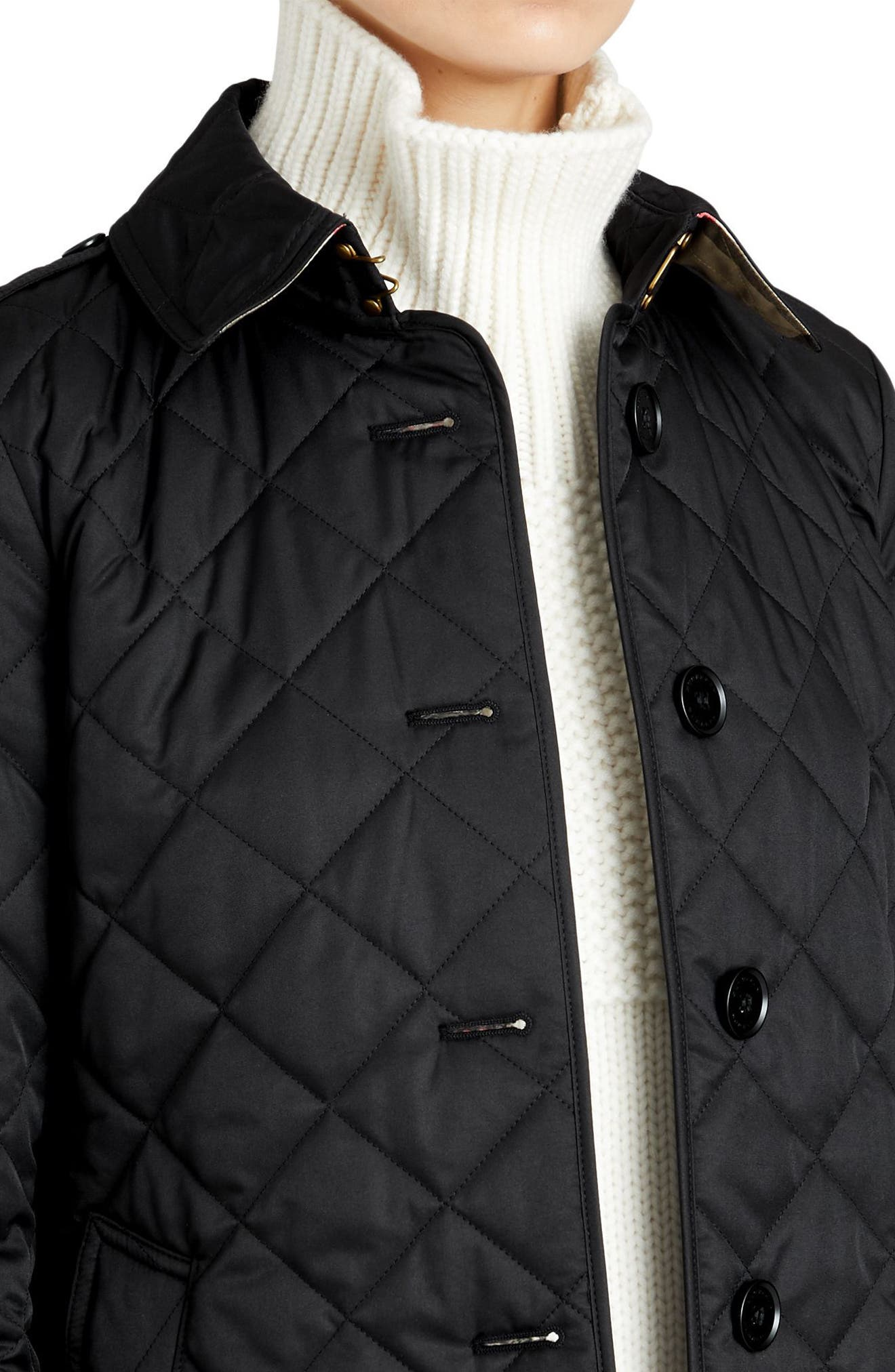 BURBERRY, Frankby Quilted Jacket, Alternate thumbnail 4, color, 001