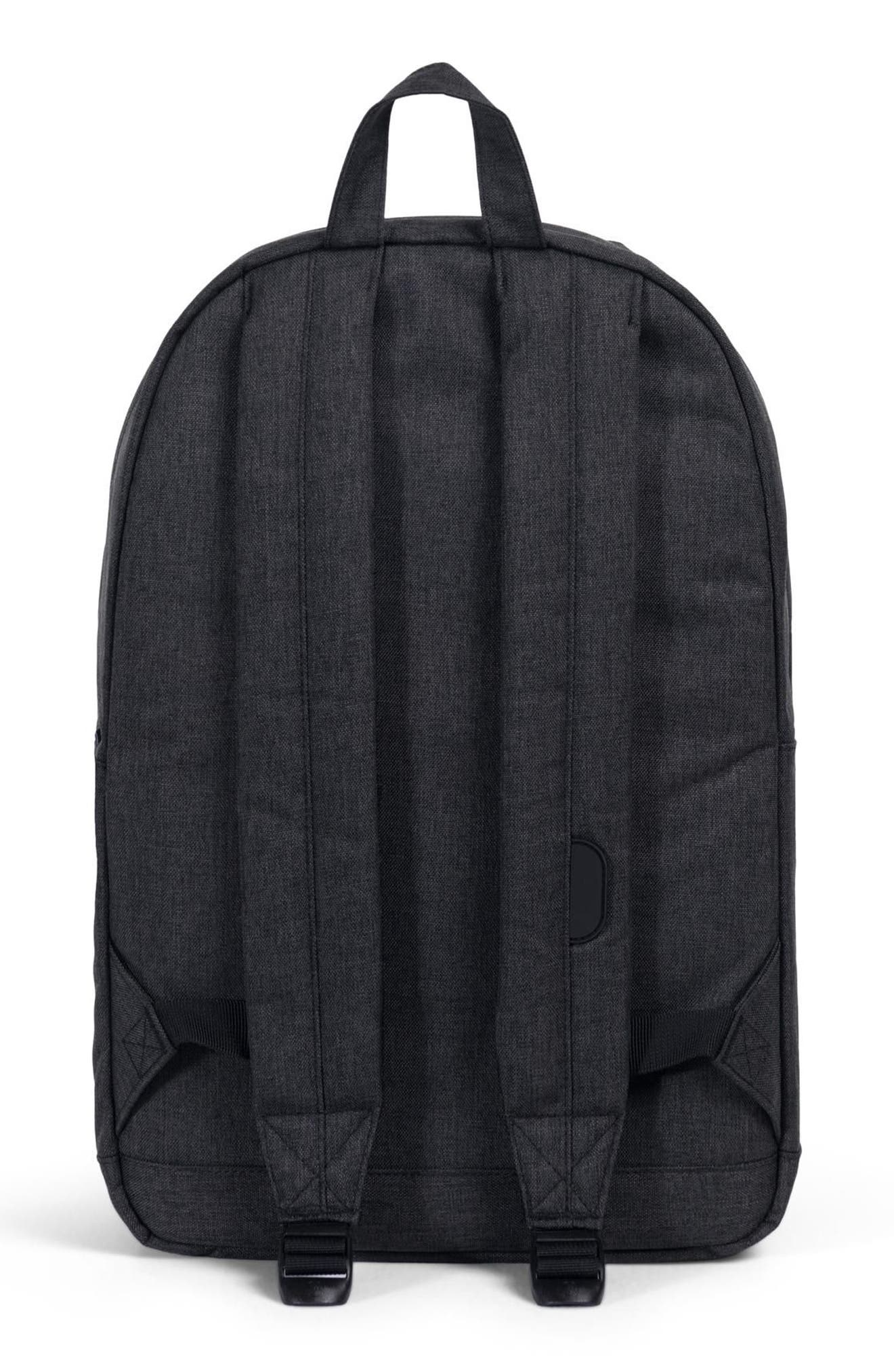 HERSCHEL SUPPLY CO., Pop Quiz Backpack, Alternate thumbnail 4, color, BLACK CROSSHATCH/ BLACK RUBBER