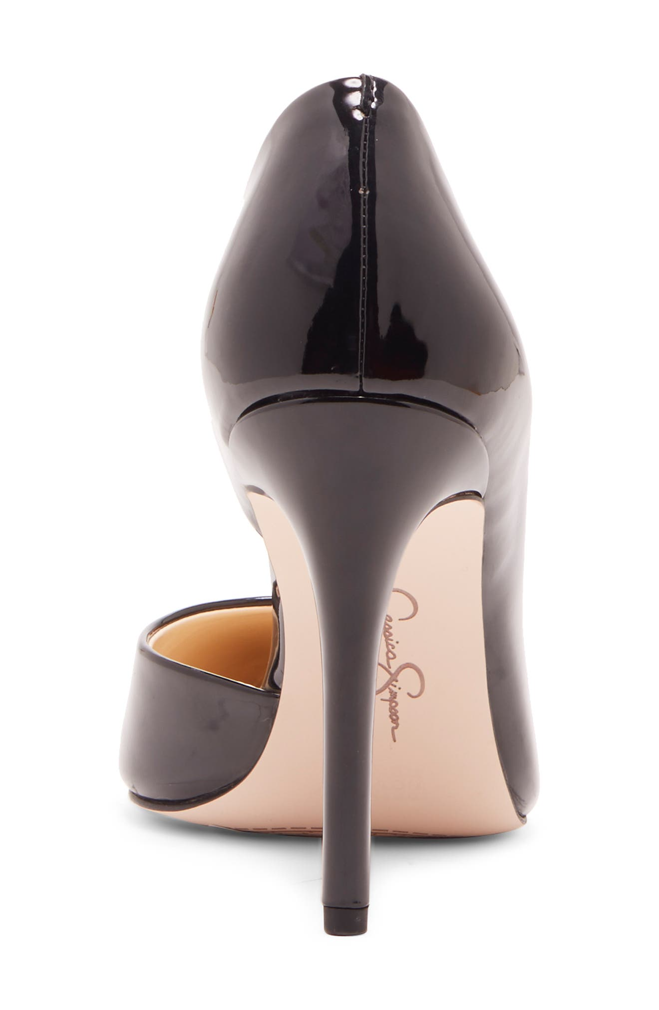 JESSICA SIMPSON, Prizma Half-d'Orsay Pump, Alternate thumbnail 2, color, BLACK