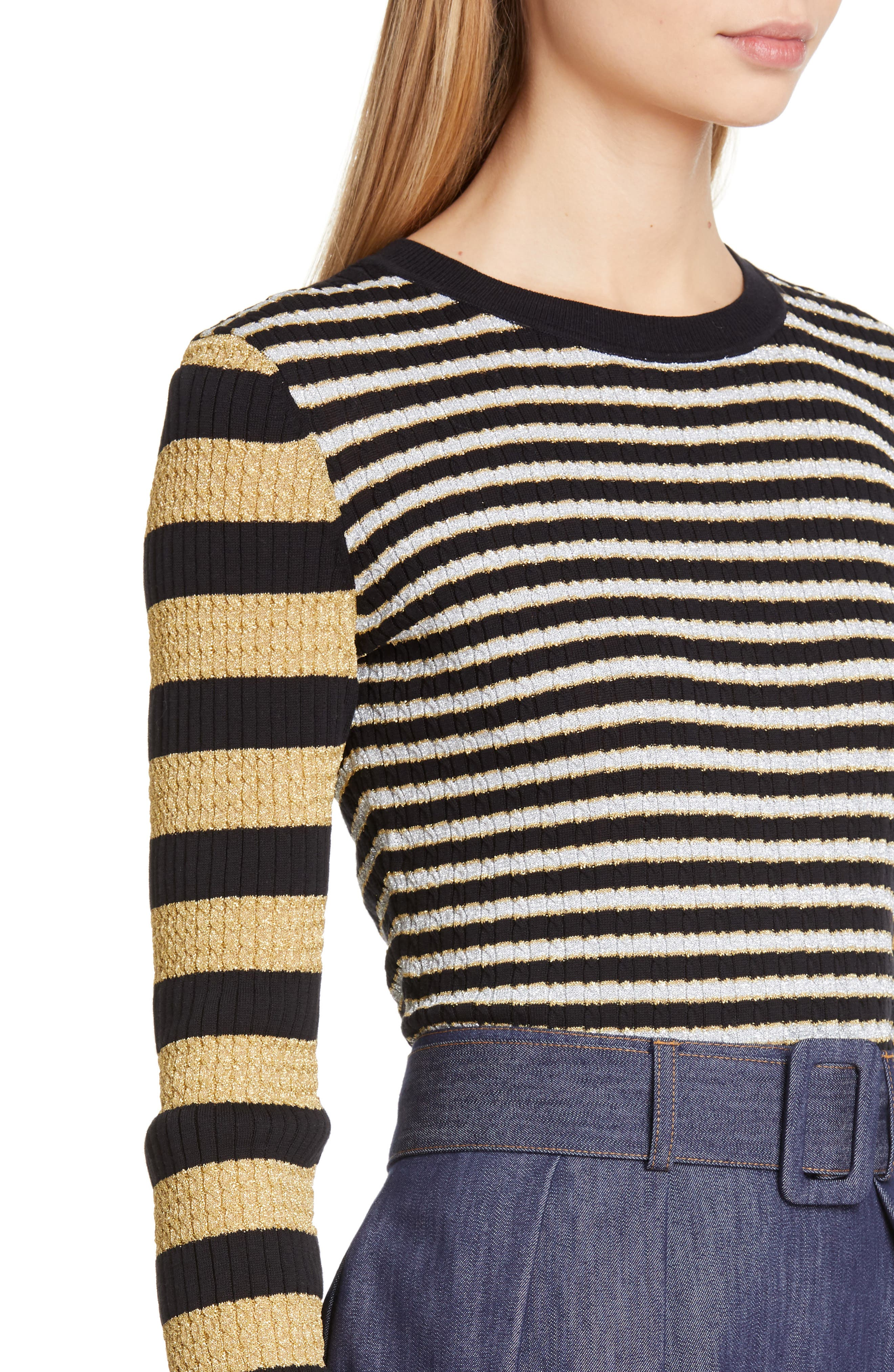 TOMMY X ZENDAYA, Metallic Stripe Knit Top, Alternate thumbnail 4, color, BLACK BEAUTY MULTI