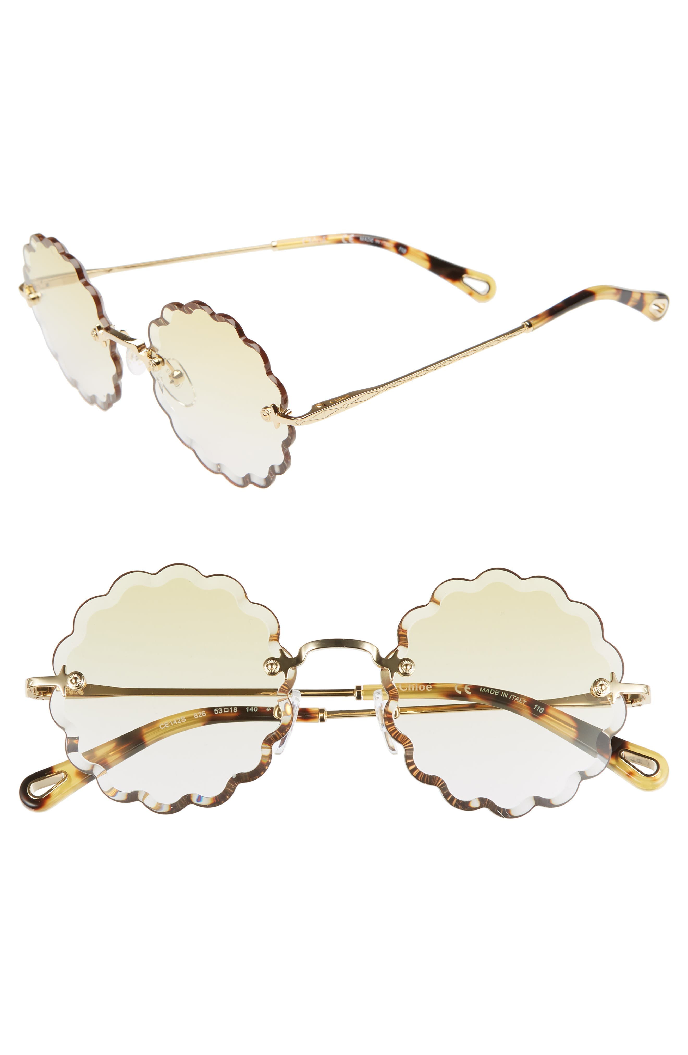 CHLOÉ, Rosie 53mm Scalloped Sunglasses, Main thumbnail 1, color, GOLD/ GRADIENT YELLOW