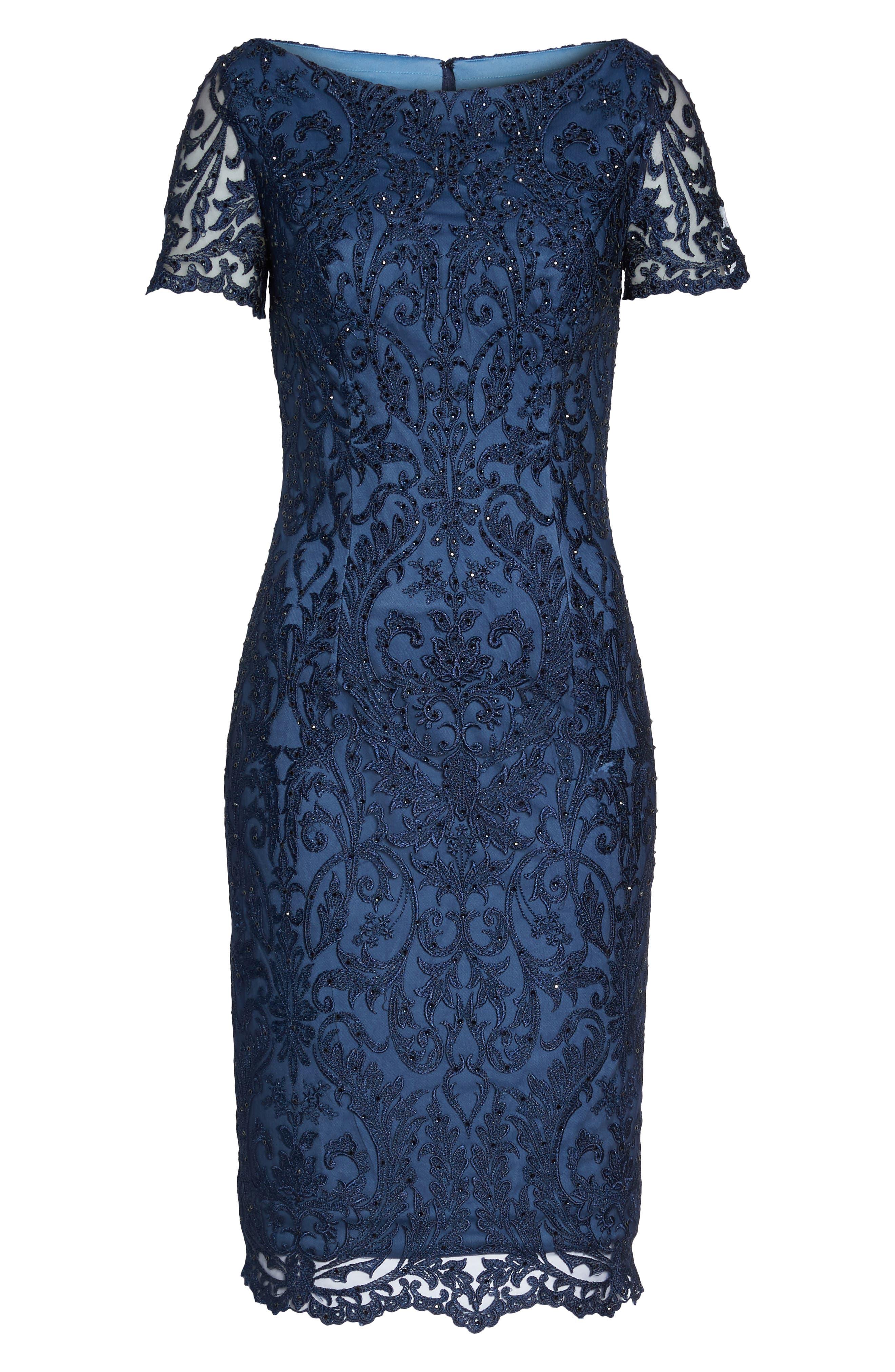 LA FEMME, Beaded Lace Sheath Dress, Alternate thumbnail 6, color, SLATE BLUE
