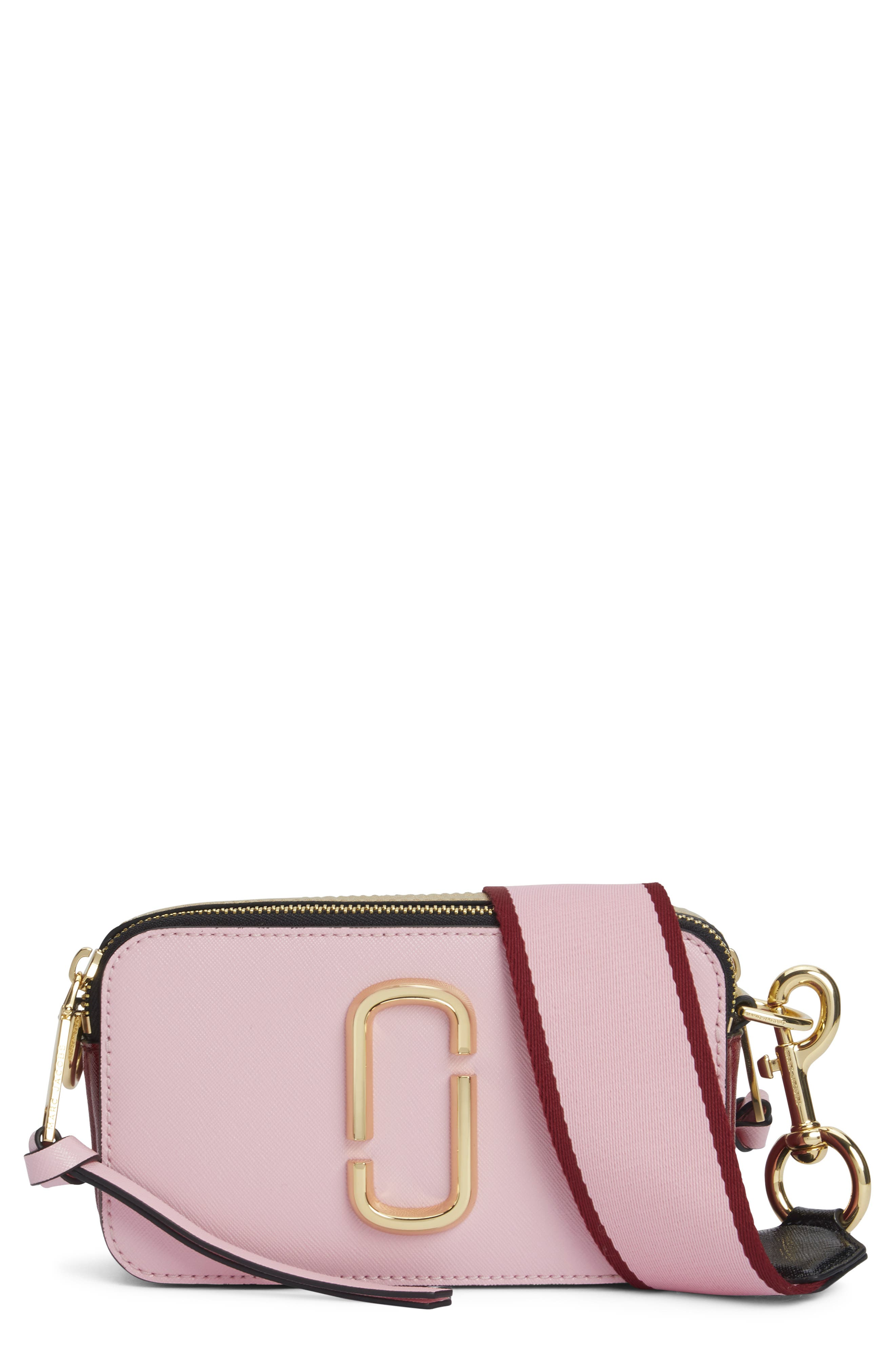 MARC JACOBS, Snapshot Crossbody Bag, Main thumbnail 1, color, BABY PINK/ RED