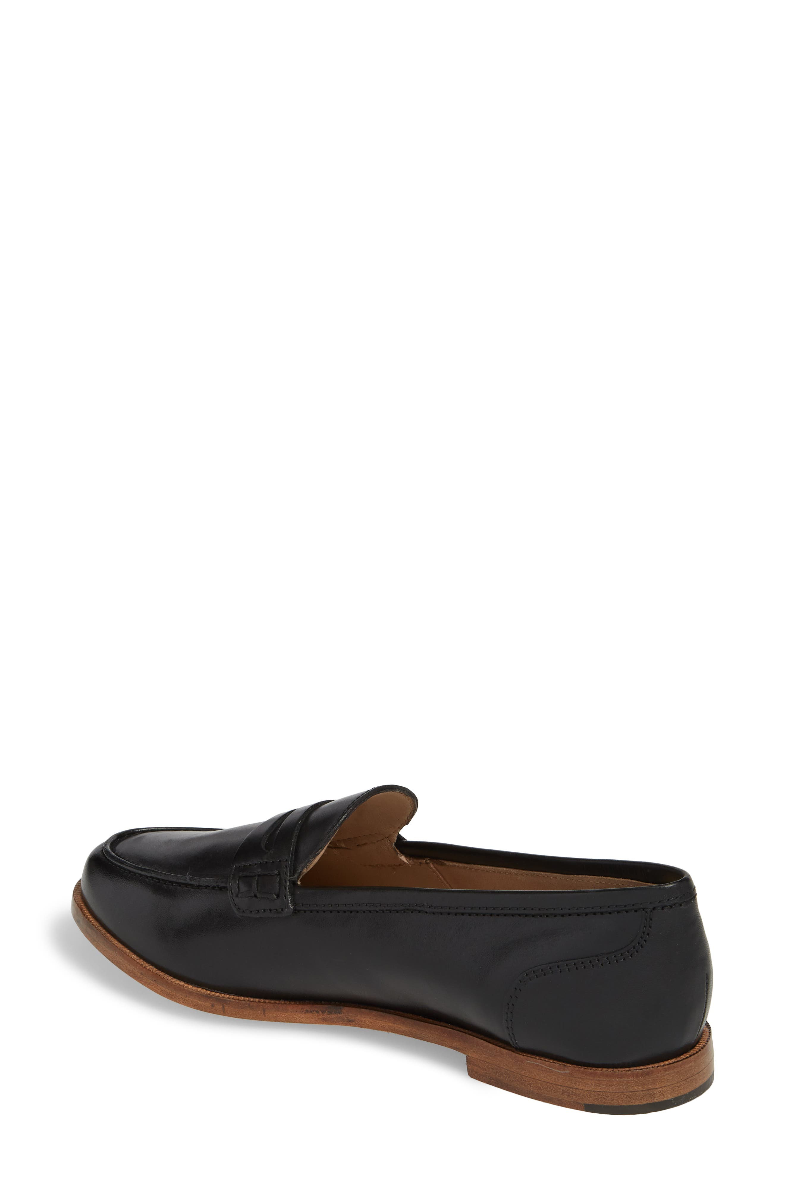 J.CREW, Ryan Penny Loafer, Alternate thumbnail 2, color, BLACK LEATHER