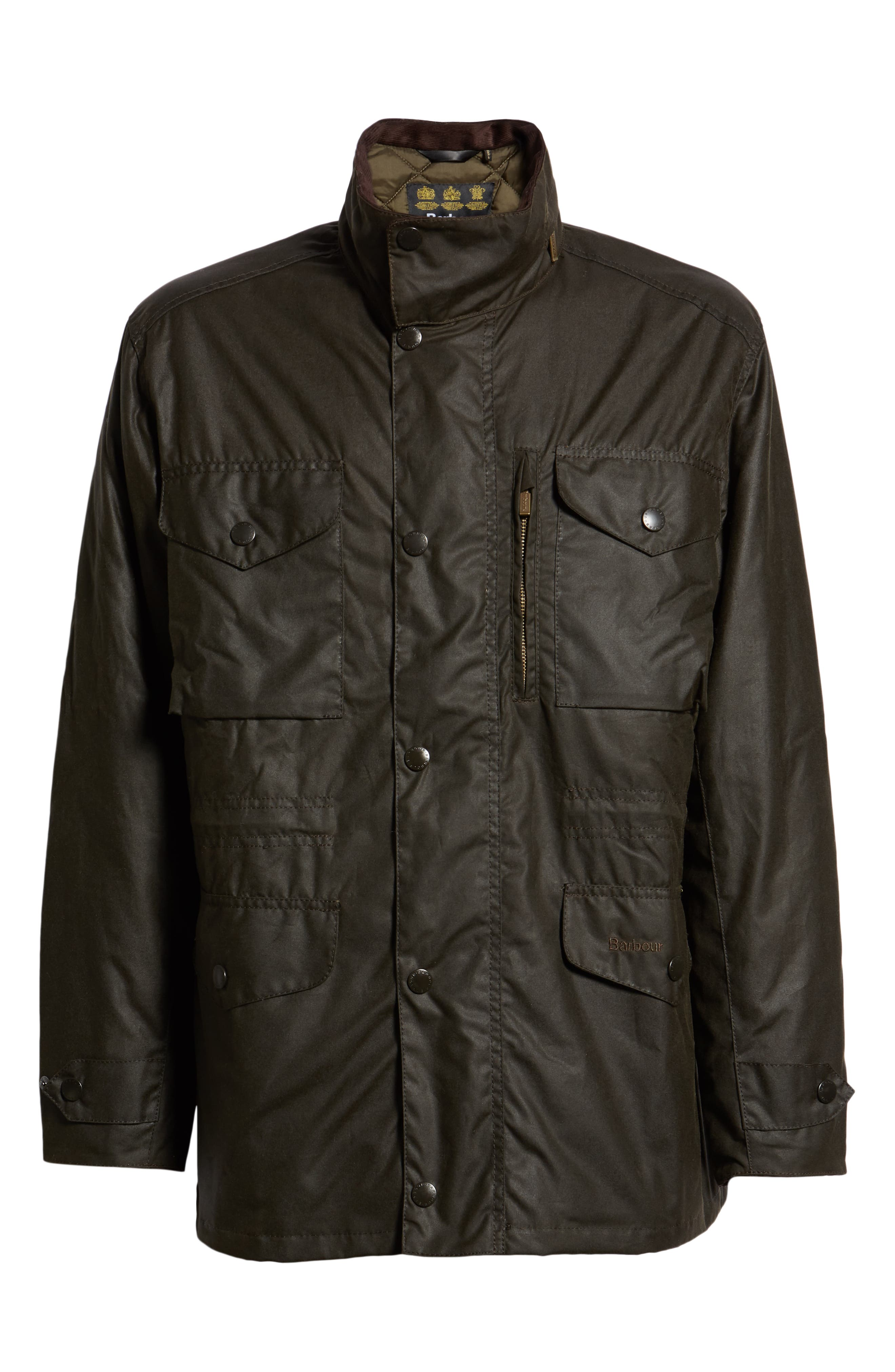 BARBOUR, Sapper Regular Fit Weatherproof Waxed Cotton Jacket, Alternate thumbnail 6, color, OLIVE