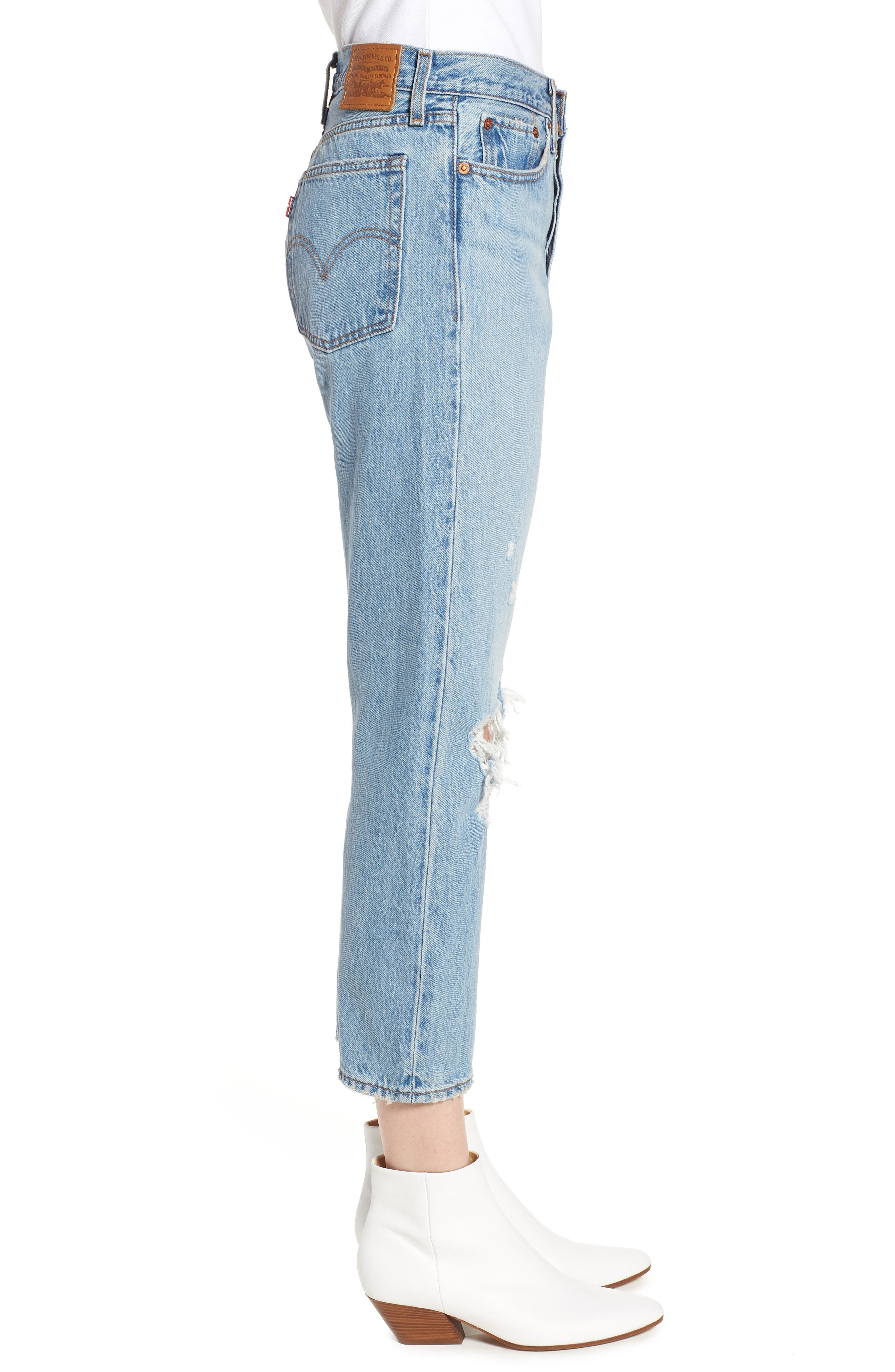 LEVI'S<SUP>®</SUP>, Wedgie Ripped Straight Leg Jeans, Alternate thumbnail 4, color, AUTHENTICALLY YOURS