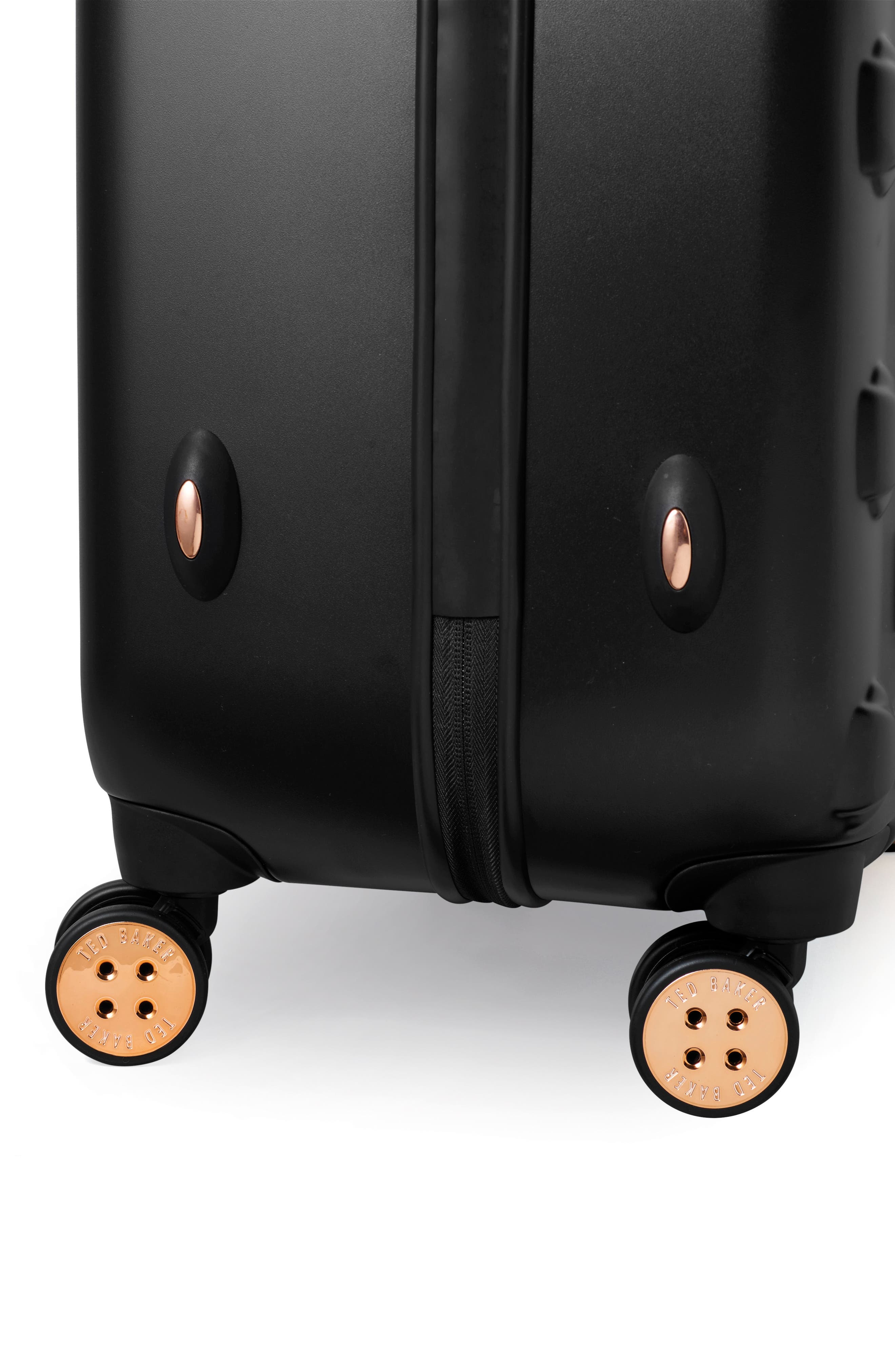 TED BAKER LONDON, Small Beau 22-Inch Bow Embossed Four-Wheel Trolley Suitcase, Alternate thumbnail 4, color, BLACK