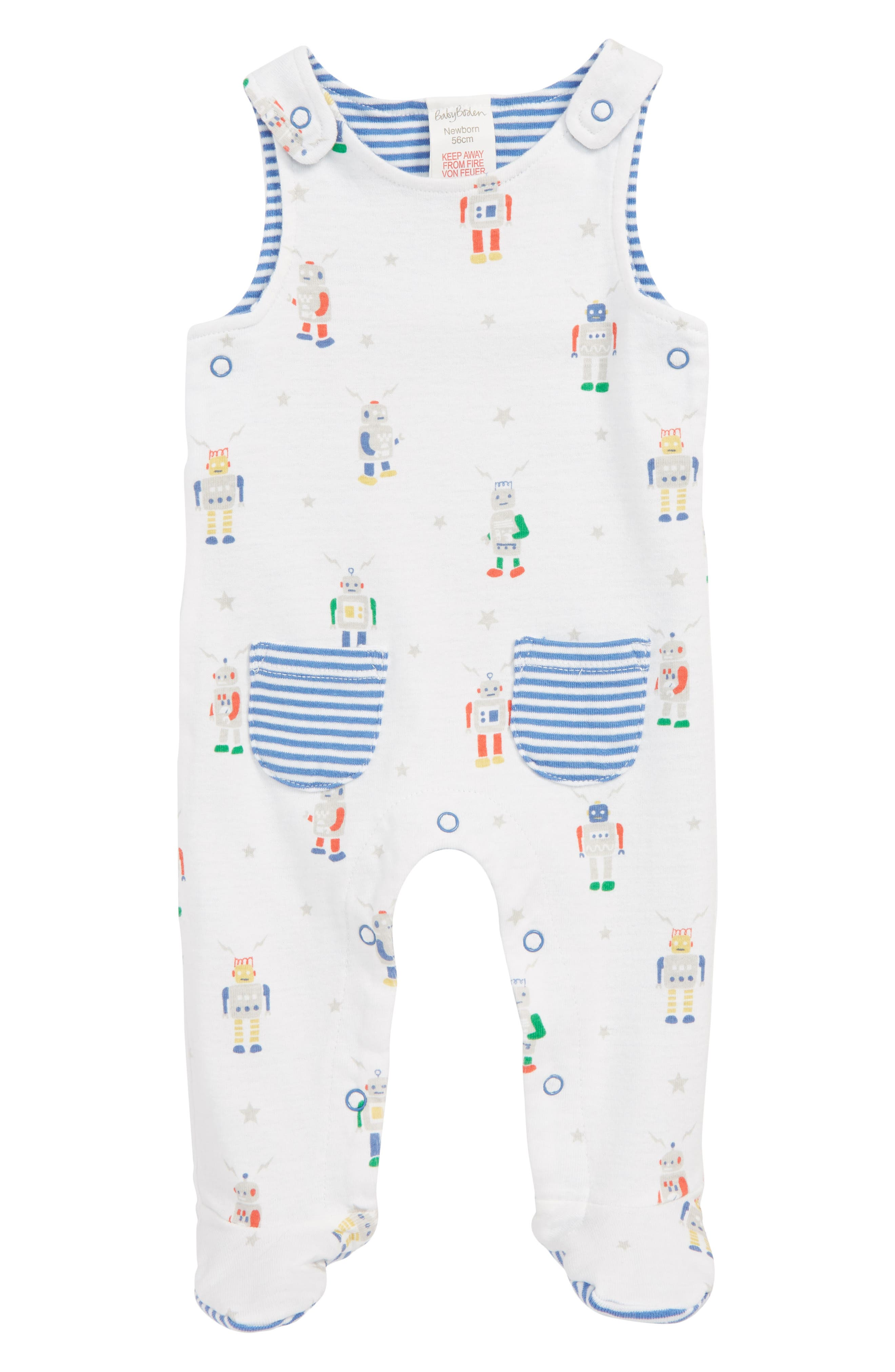 MINI BODEN, Print Footed Coveralls, Main thumbnail 1, color, MULTI ROBOTS